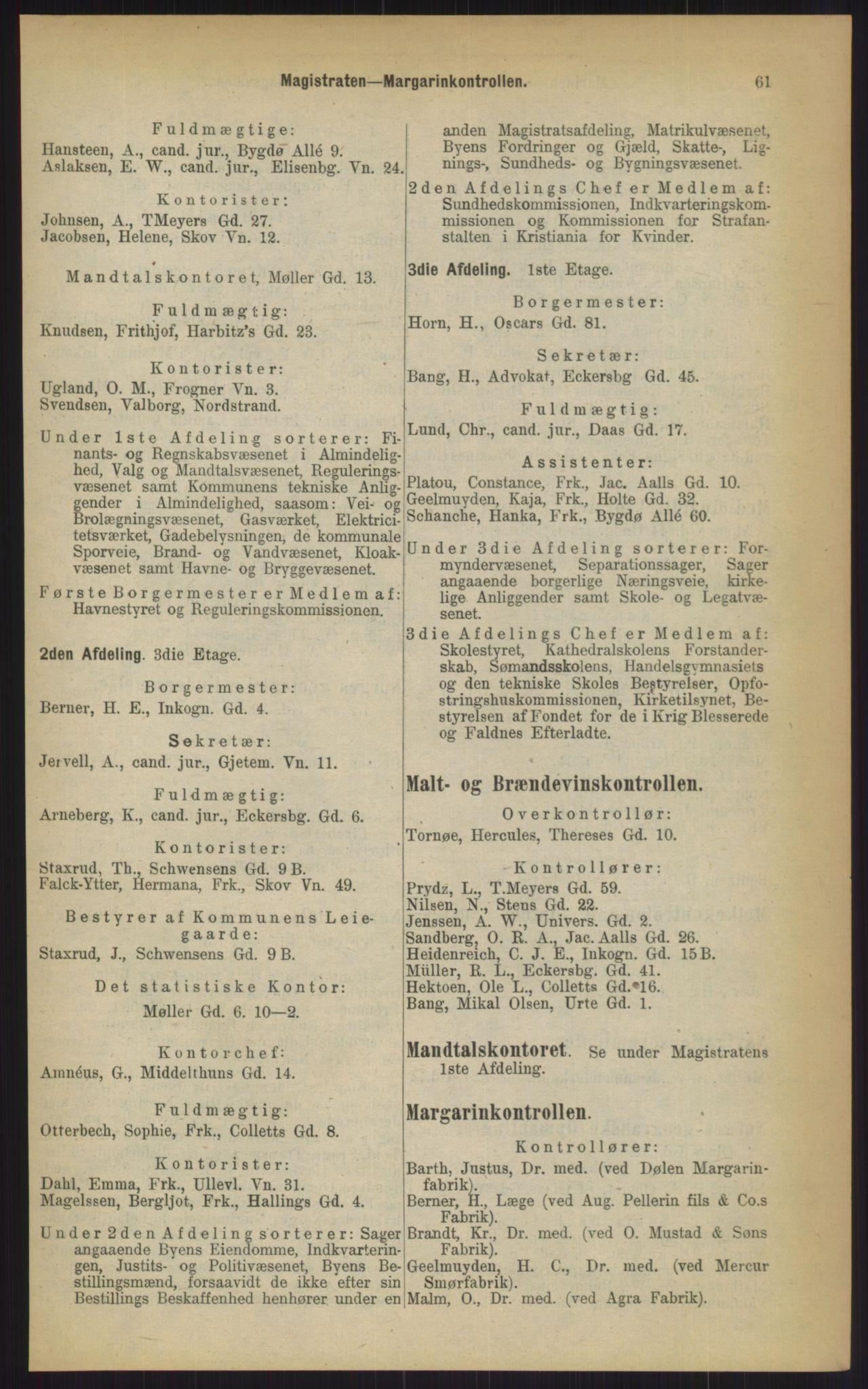 RA, Kristiania adressebok (publikasjon)*, 1903, s. 61