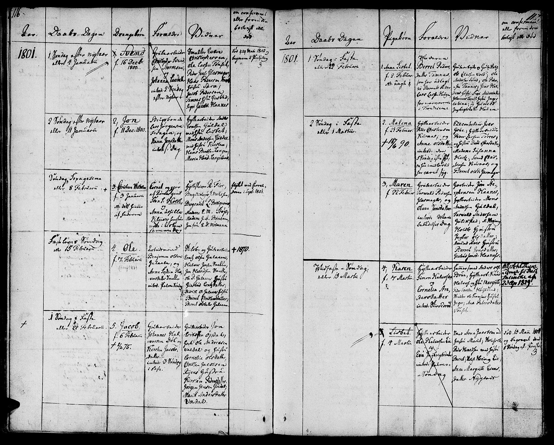 SAT, Ministerialprotokoller, klokkerbøker og fødselsregistre - Sør-Trøndelag, 681/L0927: Ministerialbok nr. 681A05, 1798-1808, s. 116-117