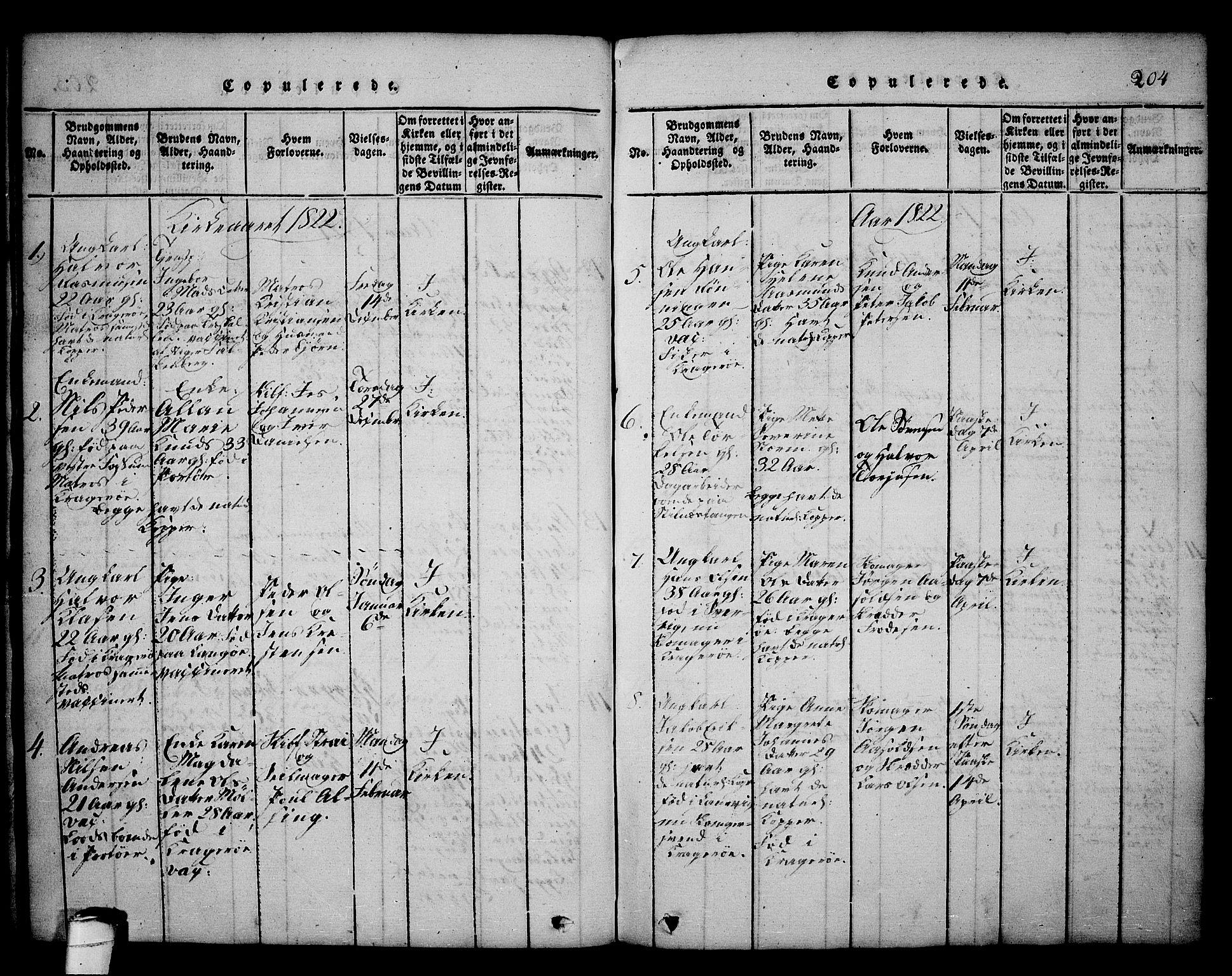 SAKO, Kragerø kirkebøker, G/Ga/L0002: Klokkerbok nr. 2, 1814-1831, s. 204