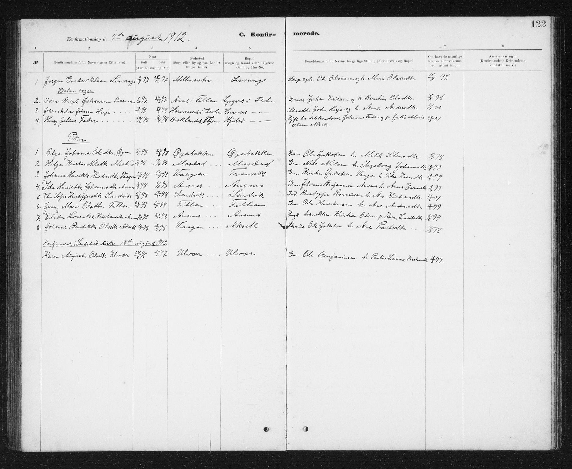 SAT, Ministerialprotokoller, klokkerbøker og fødselsregistre - Sør-Trøndelag, 637/L0563: Klokkerbok nr. 637C04, 1899-1940, s. 122