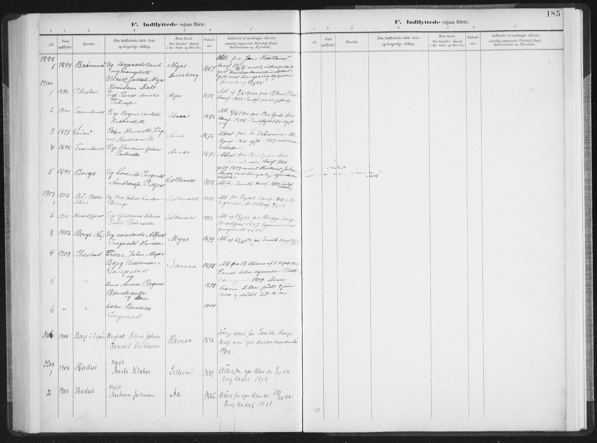 SAT, Ministerialprotokoller, klokkerbøker og fødselsregistre - Nordland, 897/L1400: Ministerialbok nr. 897A07, 1897-1908, s. 185