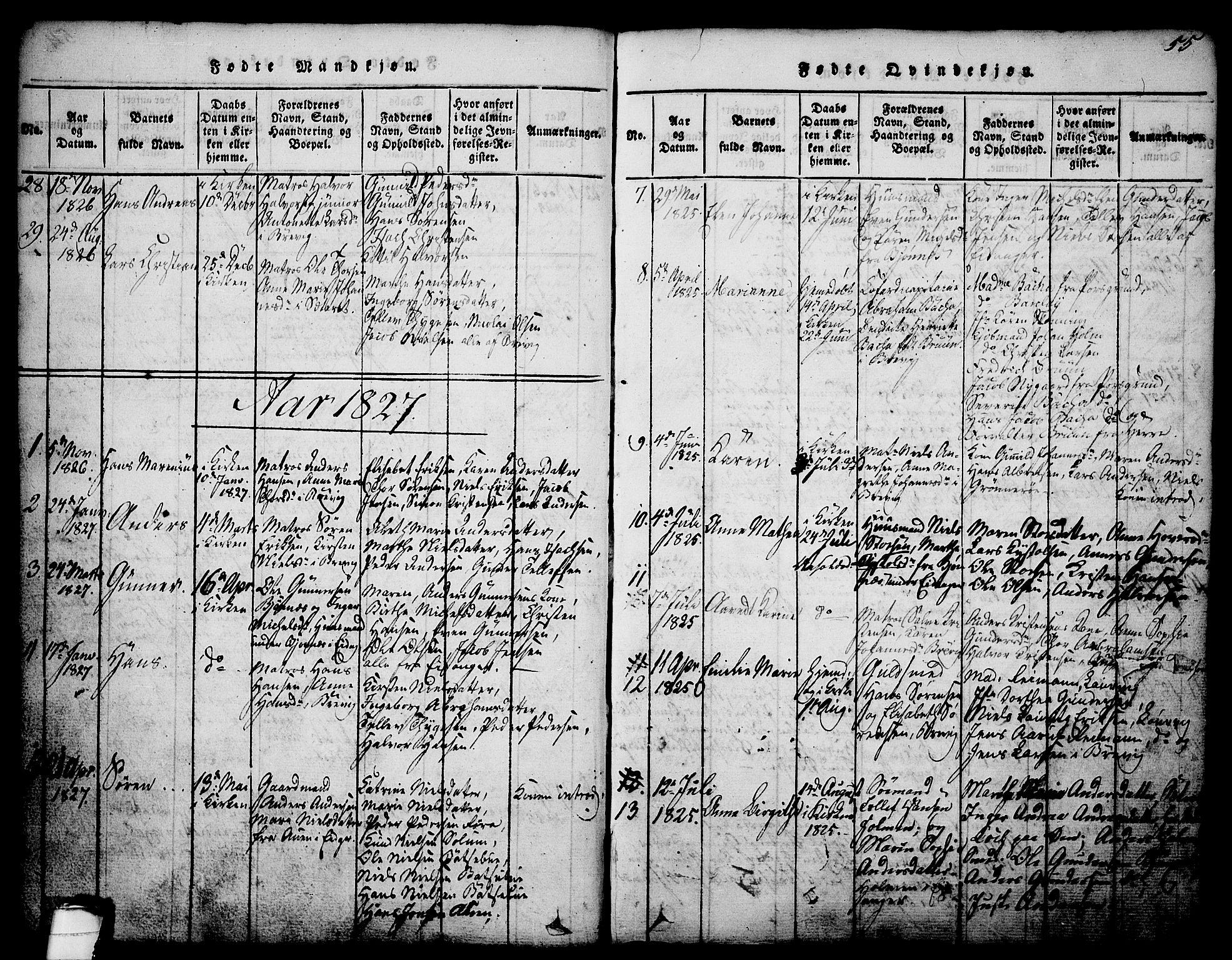 SAKO, Brevik kirkebøker, G/Ga/L0001: Klokkerbok nr. 1, 1814-1845, s. 55