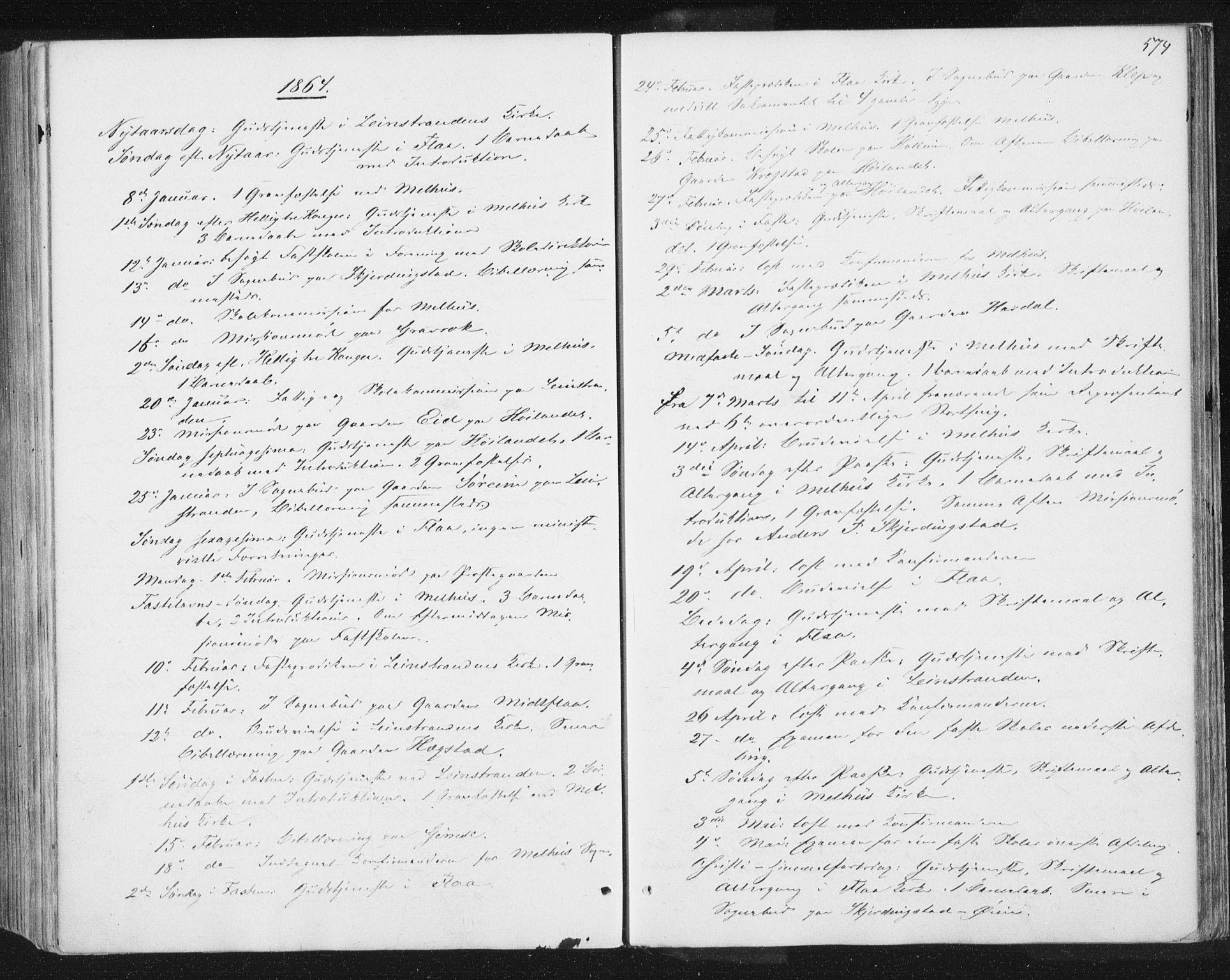 SAT, Ministerialprotokoller, klokkerbøker og fødselsregistre - Sør-Trøndelag, 691/L1077: Ministerialbok nr. 691A09, 1862-1873, s. 574