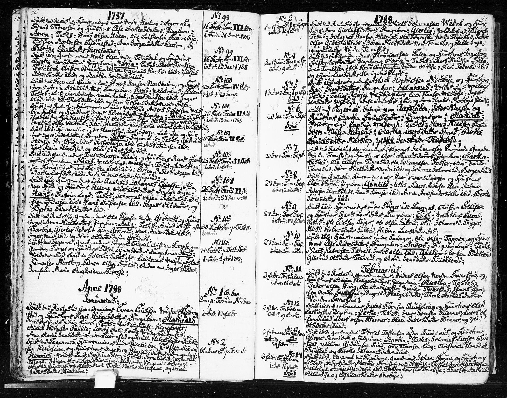 SAO, Rakkestad prestekontor Kirkebøker, F/Fa/L0005: Ministerialbok nr. I 5, 1784-1814, s. 40-41
