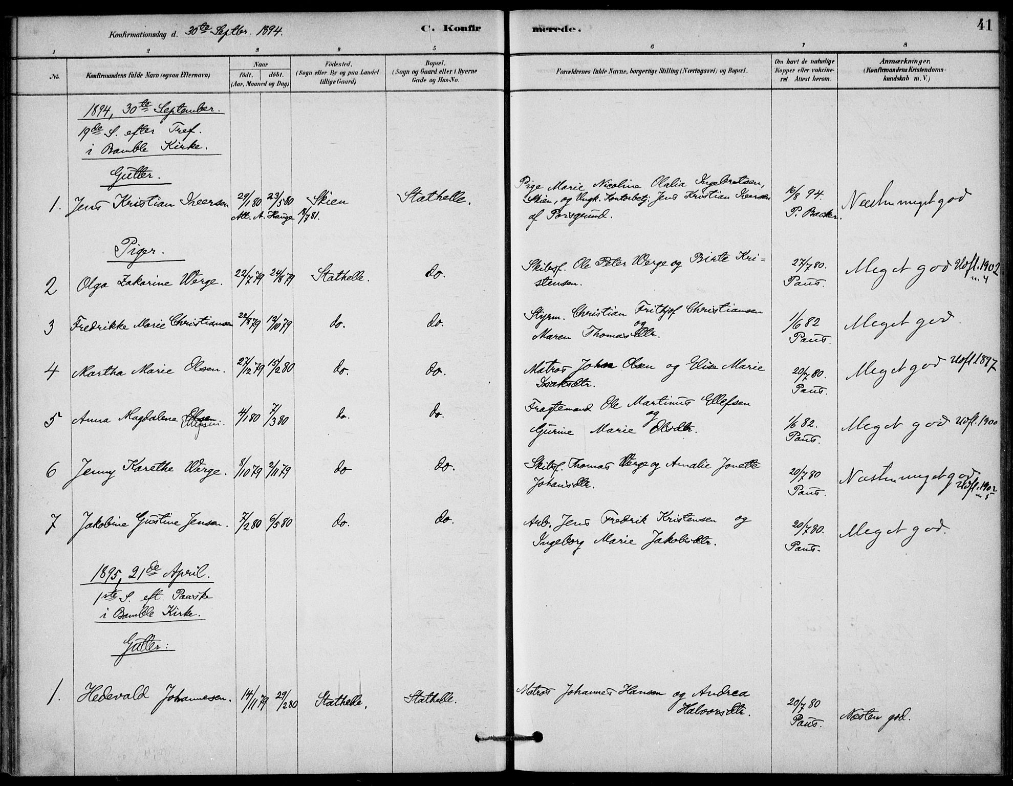 SAKO, Bamble kirkebøker, G/Gb/L0001: Klokkerbok nr. II 1, 1878-1900, s. 41