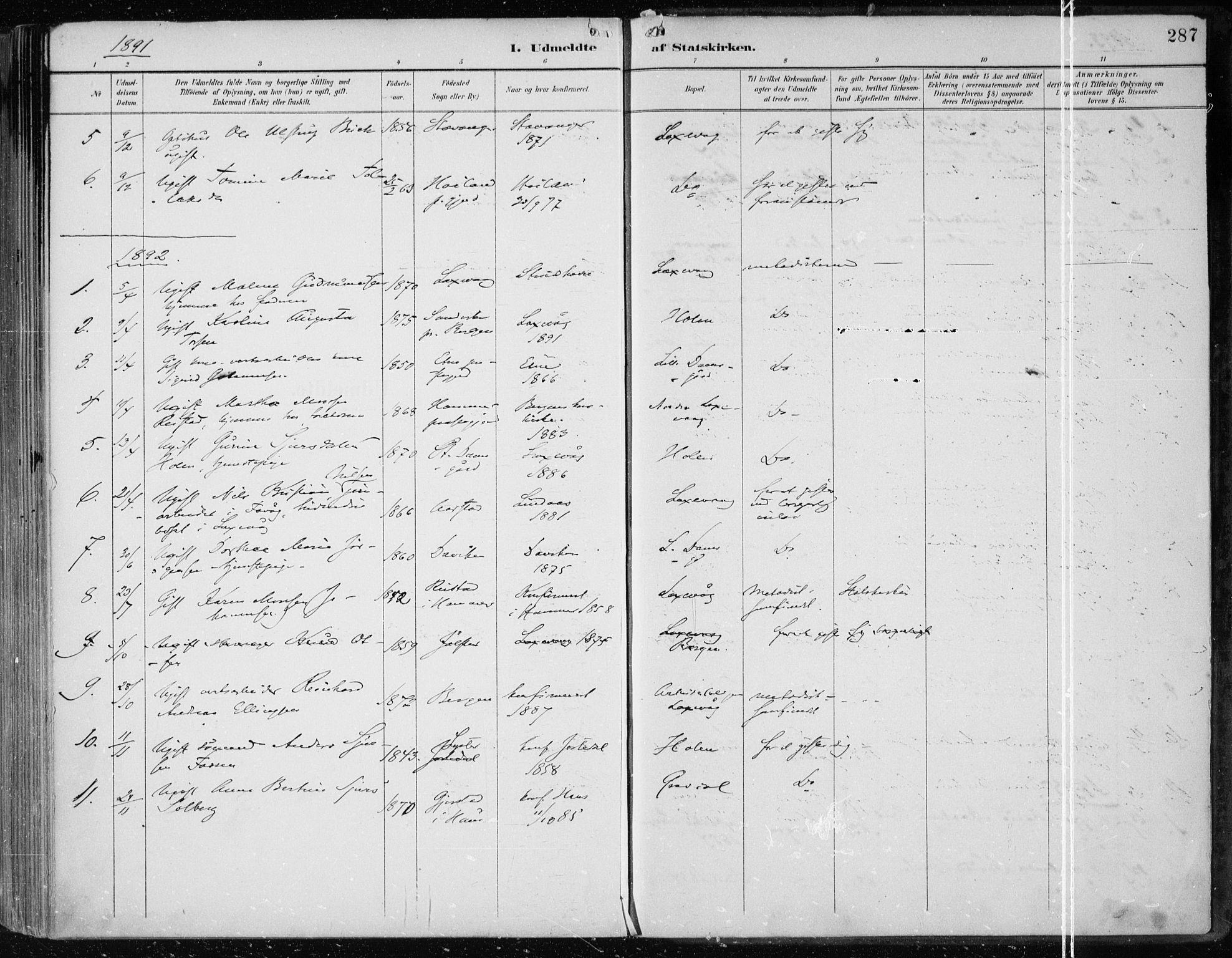 SAB, Askøy Sokneprestembete, H/Ha/Haa/Haae/L0003: Ministerialbok nr. E 3, 1891-1903, s. 287