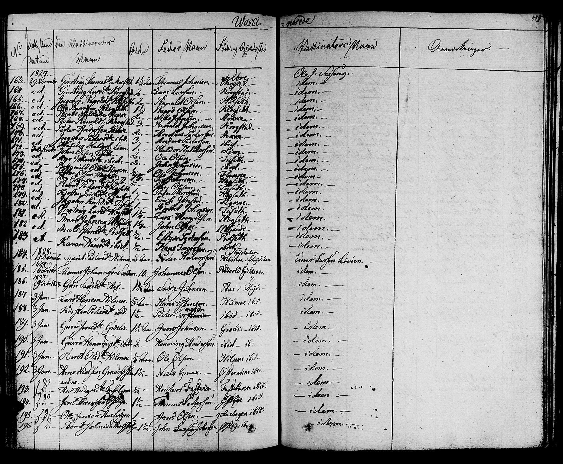 SAT, Ministerialprotokoller, klokkerbøker og fødselsregistre - Sør-Trøndelag, 695/L1143: Ministerialbok nr. 695A05 /1, 1824-1842, s. 445