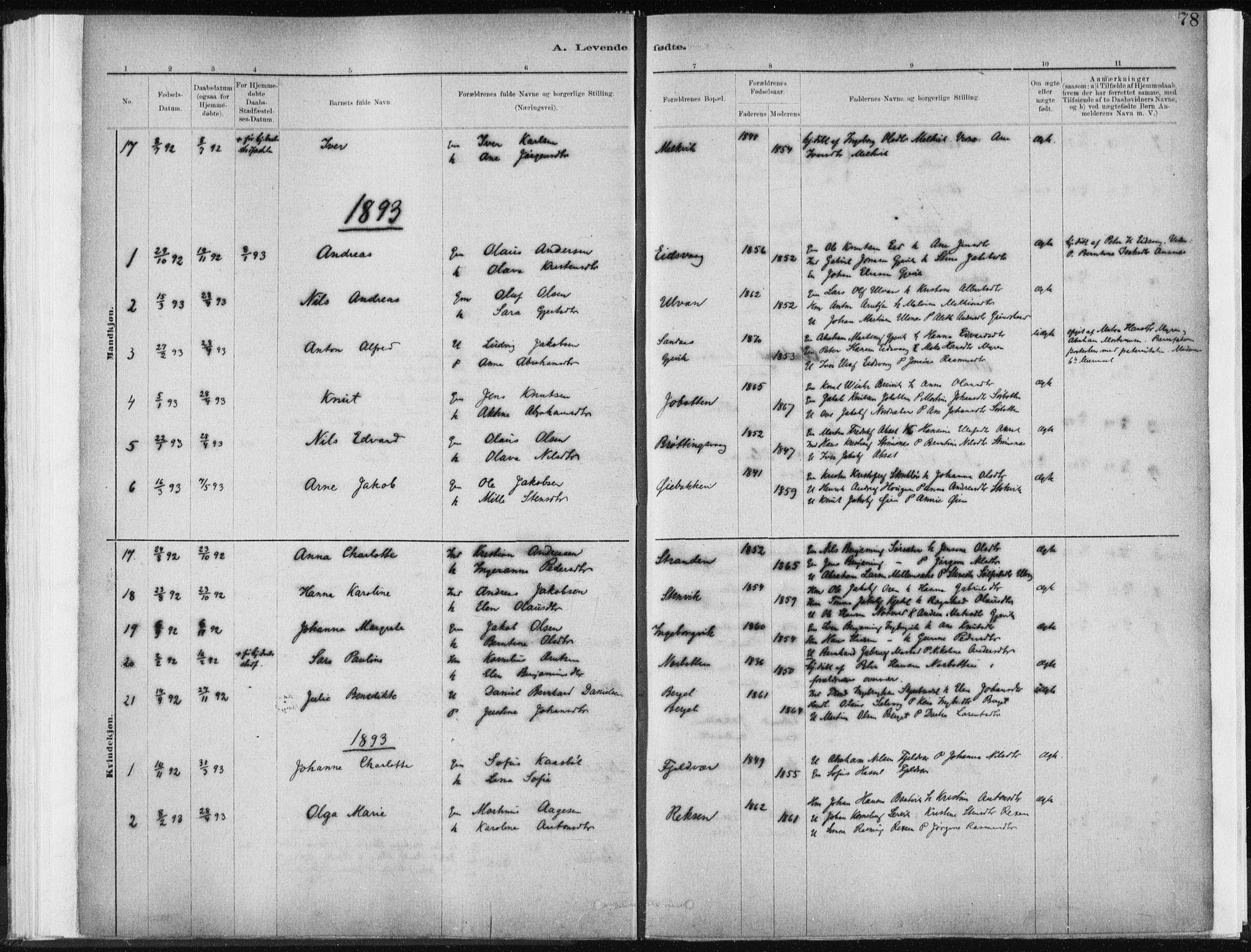 SAT, Ministerialprotokoller, klokkerbøker og fødselsregistre - Sør-Trøndelag, 637/L0558: Ministerialbok nr. 637A01, 1882-1899, s. 78