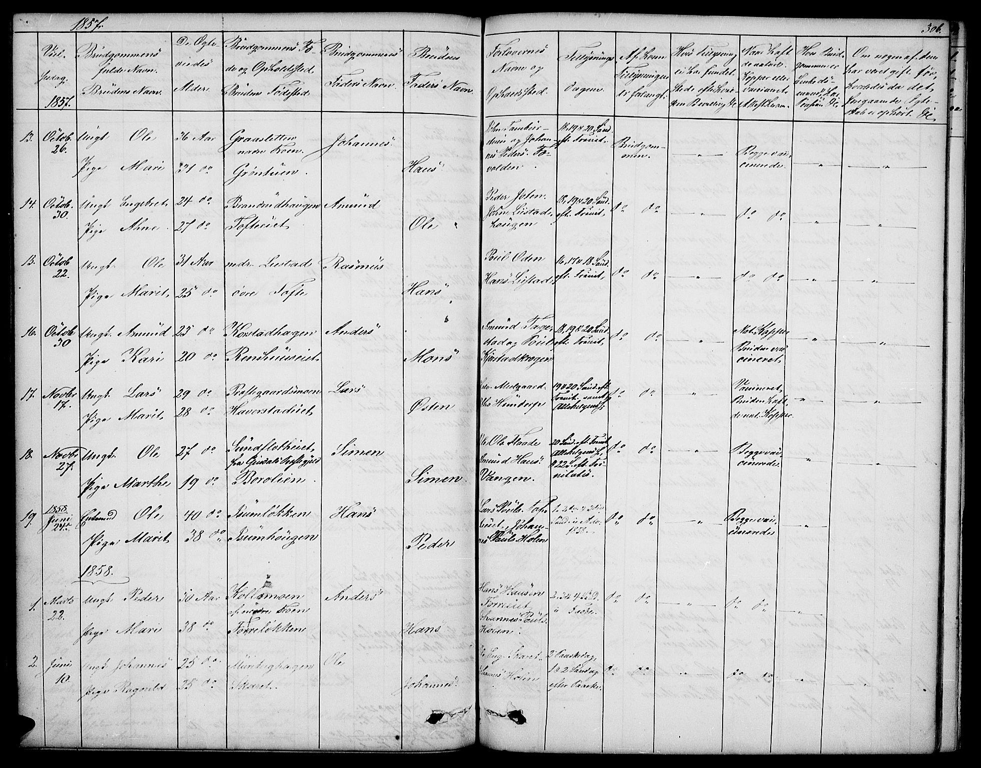SAH, Sør-Fron prestekontor, H/Ha/Hab/L0001: Klokkerbok nr. 1, 1844-1863, s. 306