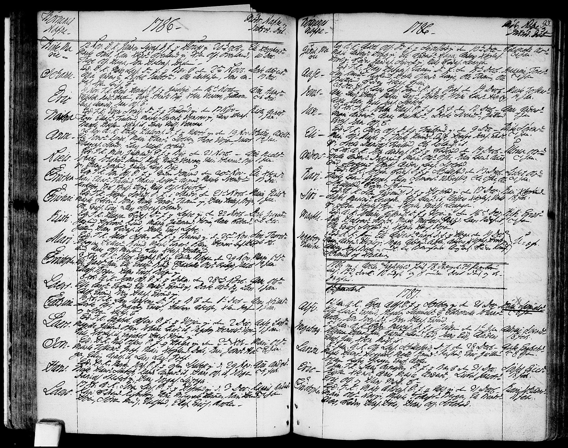 SAO, Asker prestekontor Kirkebøker, F/Fa/L0003: Ministerialbok nr. I 3, 1767-1807, s. 93