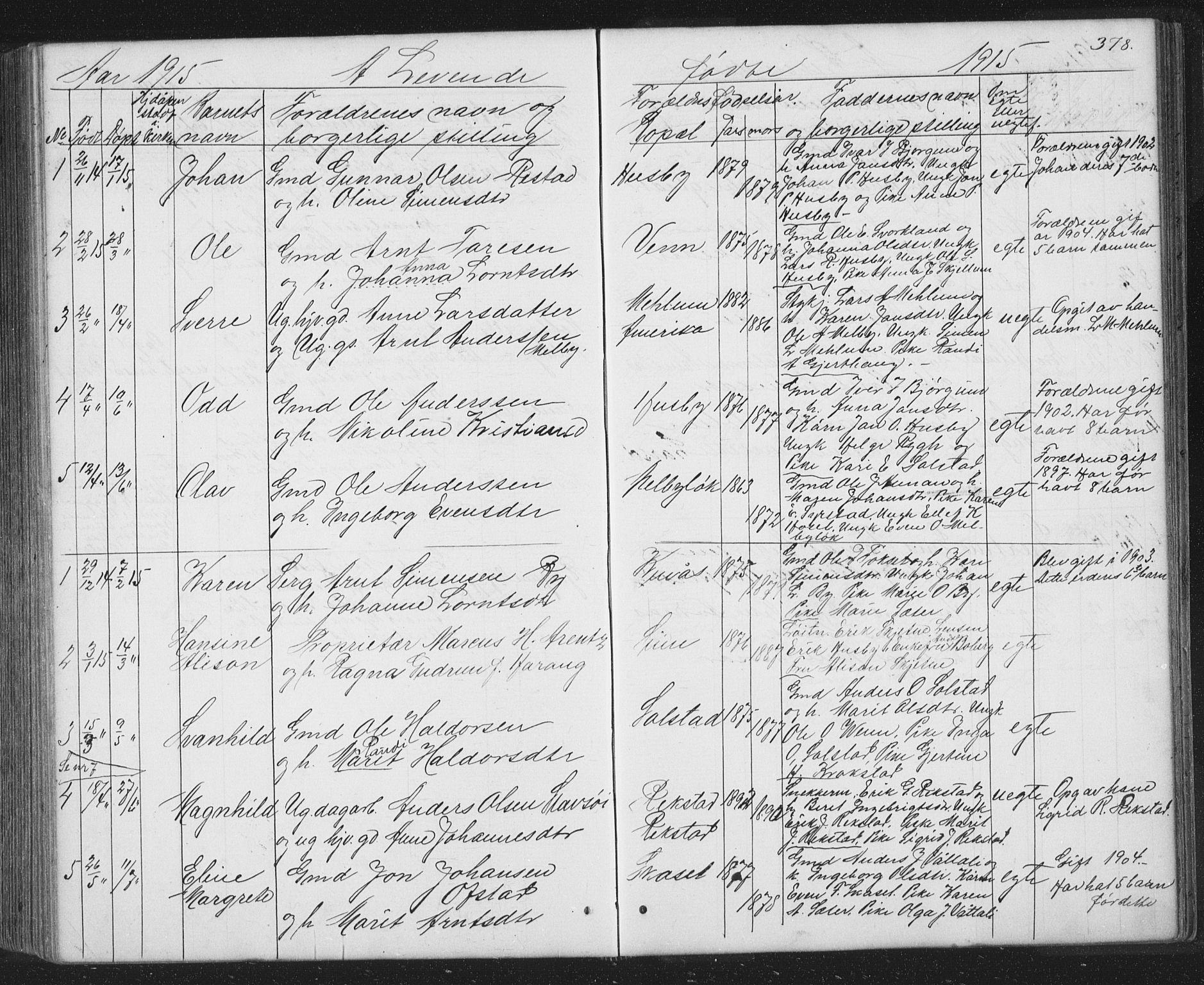 SAT, Ministerialprotokoller, klokkerbøker og fødselsregistre - Sør-Trøndelag, 667/L0798: Klokkerbok nr. 667C03, 1867-1929, s. 378