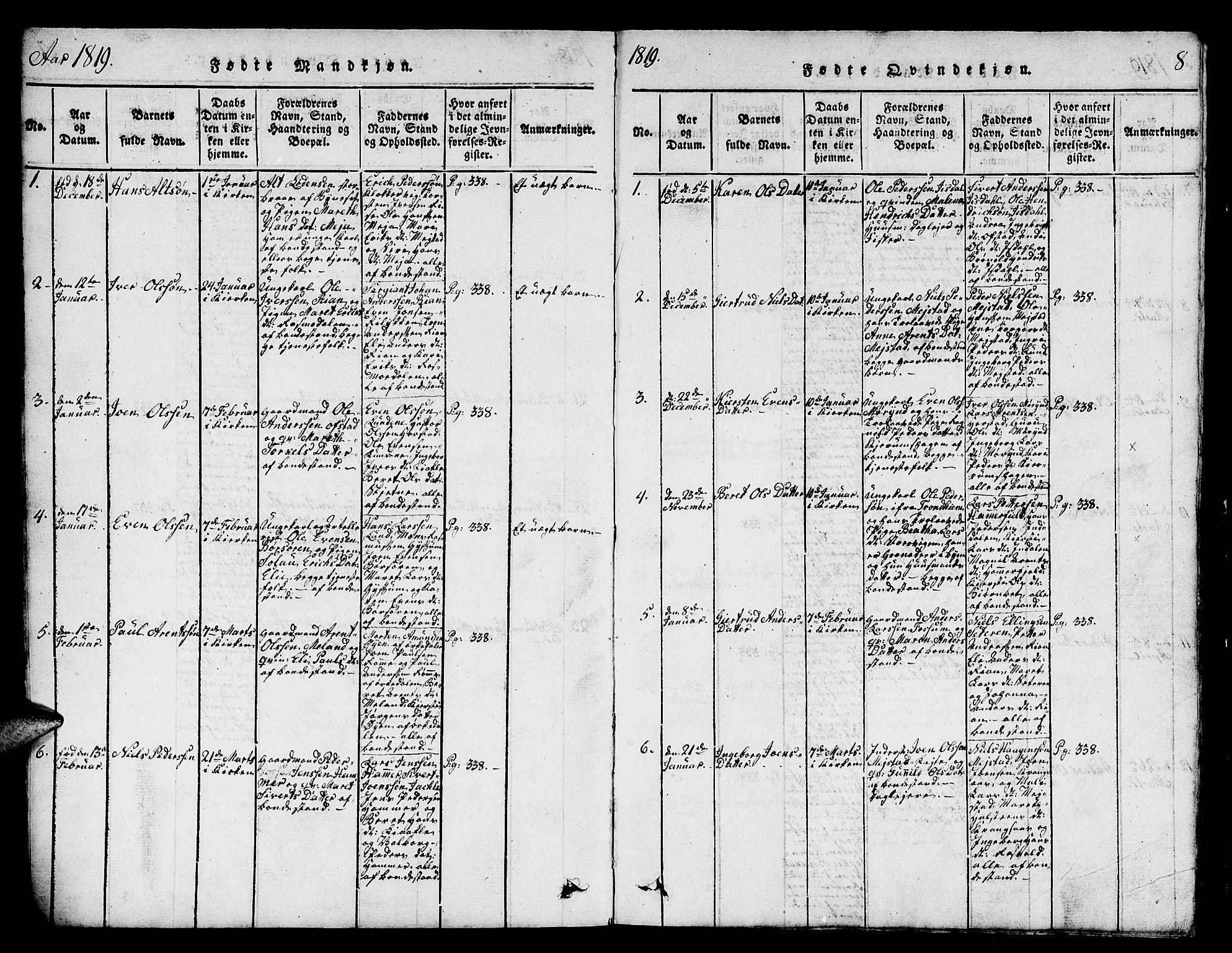 SAT, Ministerialprotokoller, klokkerbøker og fødselsregistre - Sør-Trøndelag, 665/L0776: Klokkerbok nr. 665C01, 1817-1837, s. 8