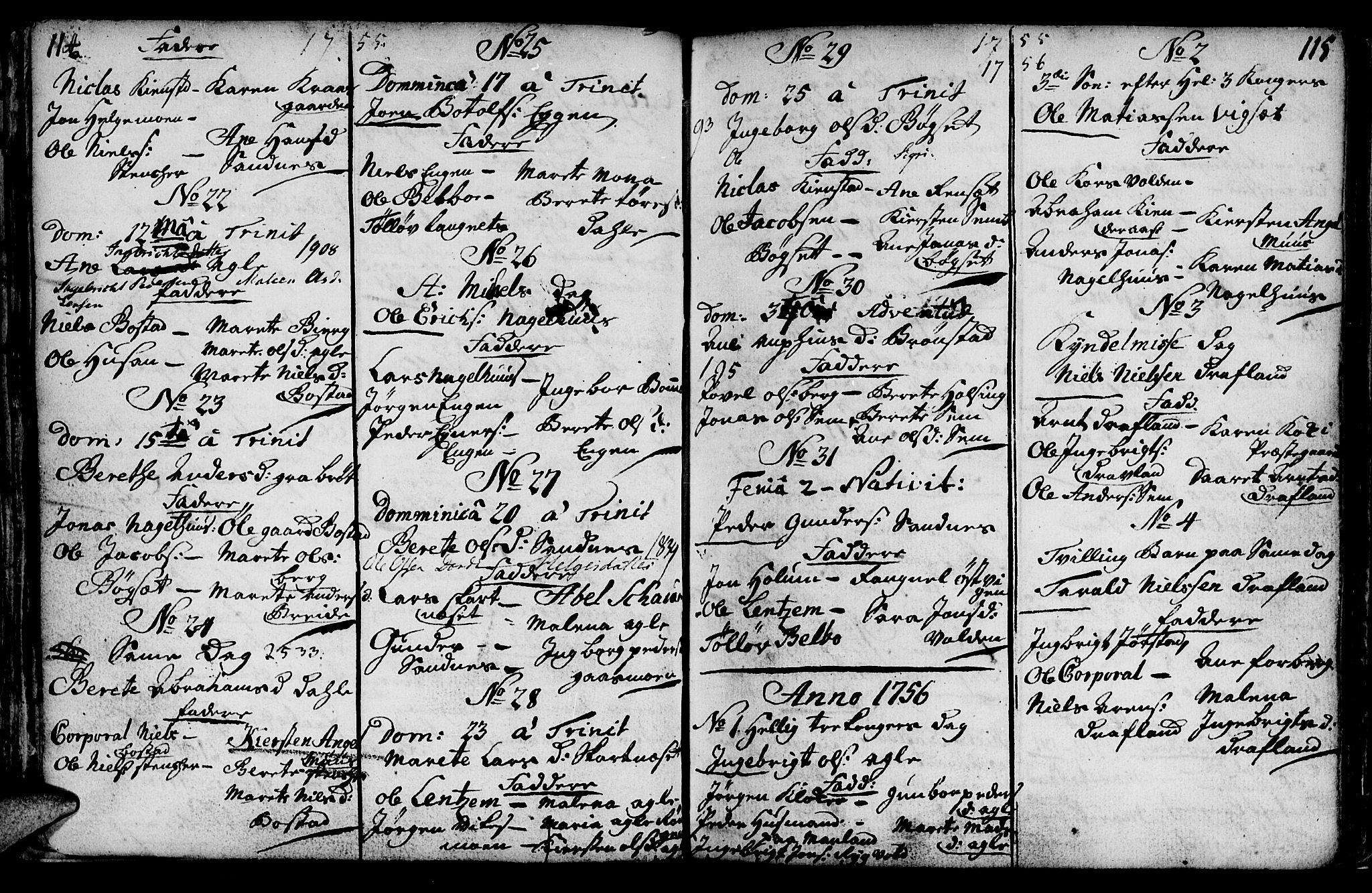 SAT, Ministerialprotokoller, klokkerbøker og fødselsregistre - Nord-Trøndelag, 749/L0467: Ministerialbok nr. 749A01, 1733-1787, s. 114-115