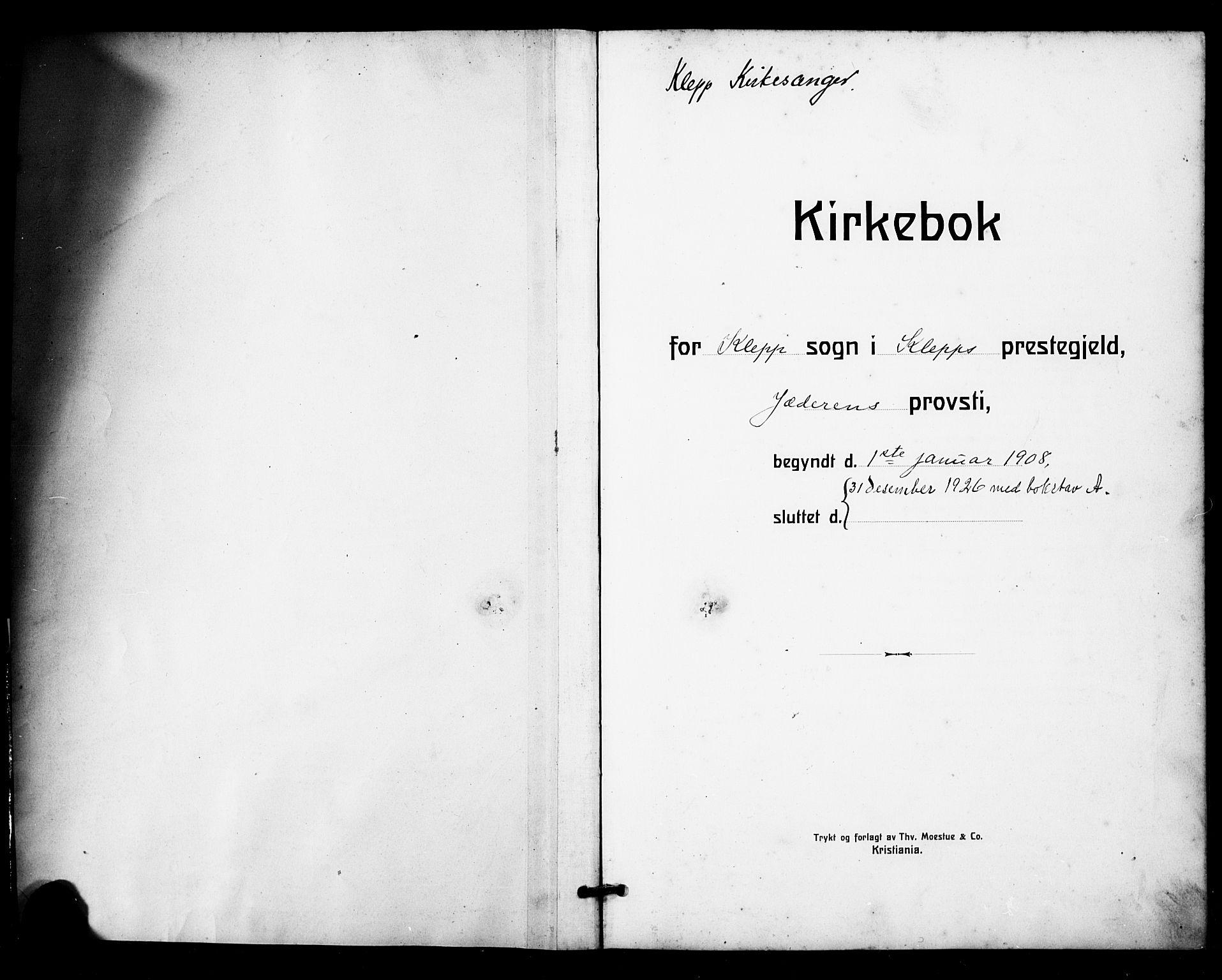 SAST, Klepp sokneprestkontor, 30BB/L0007: Klokkerbok nr. B 7, 1908-1934