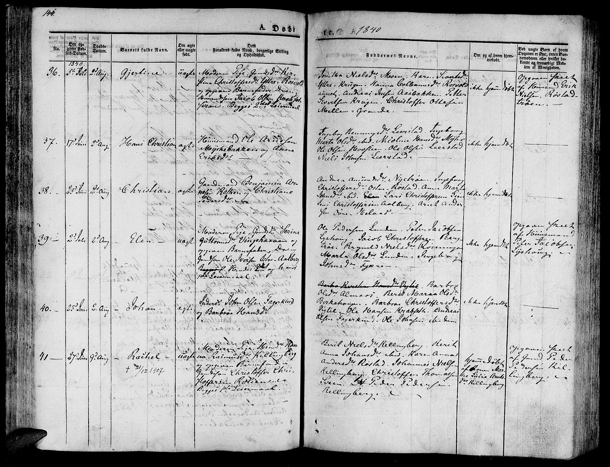 SAT, Ministerialprotokoller, klokkerbøker og fødselsregistre - Nord-Trøndelag, 701/L0006: Ministerialbok nr. 701A06, 1825-1841, s. 144