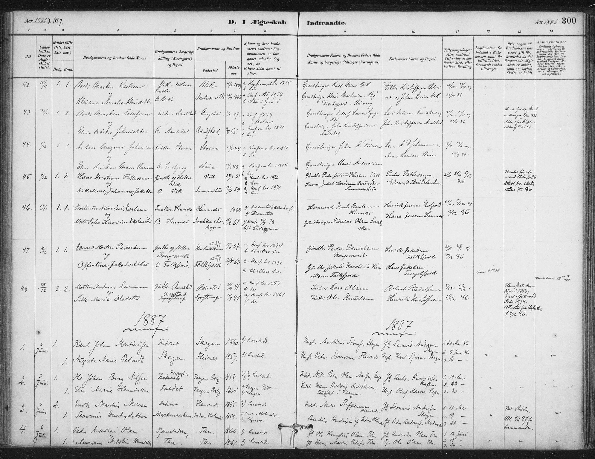 SAT, Ministerialprotokoller, klokkerbøker og fødselsregistre - Nordland, 888/L1244: Ministerialbok nr. 888A10, 1880-1890, s. 300