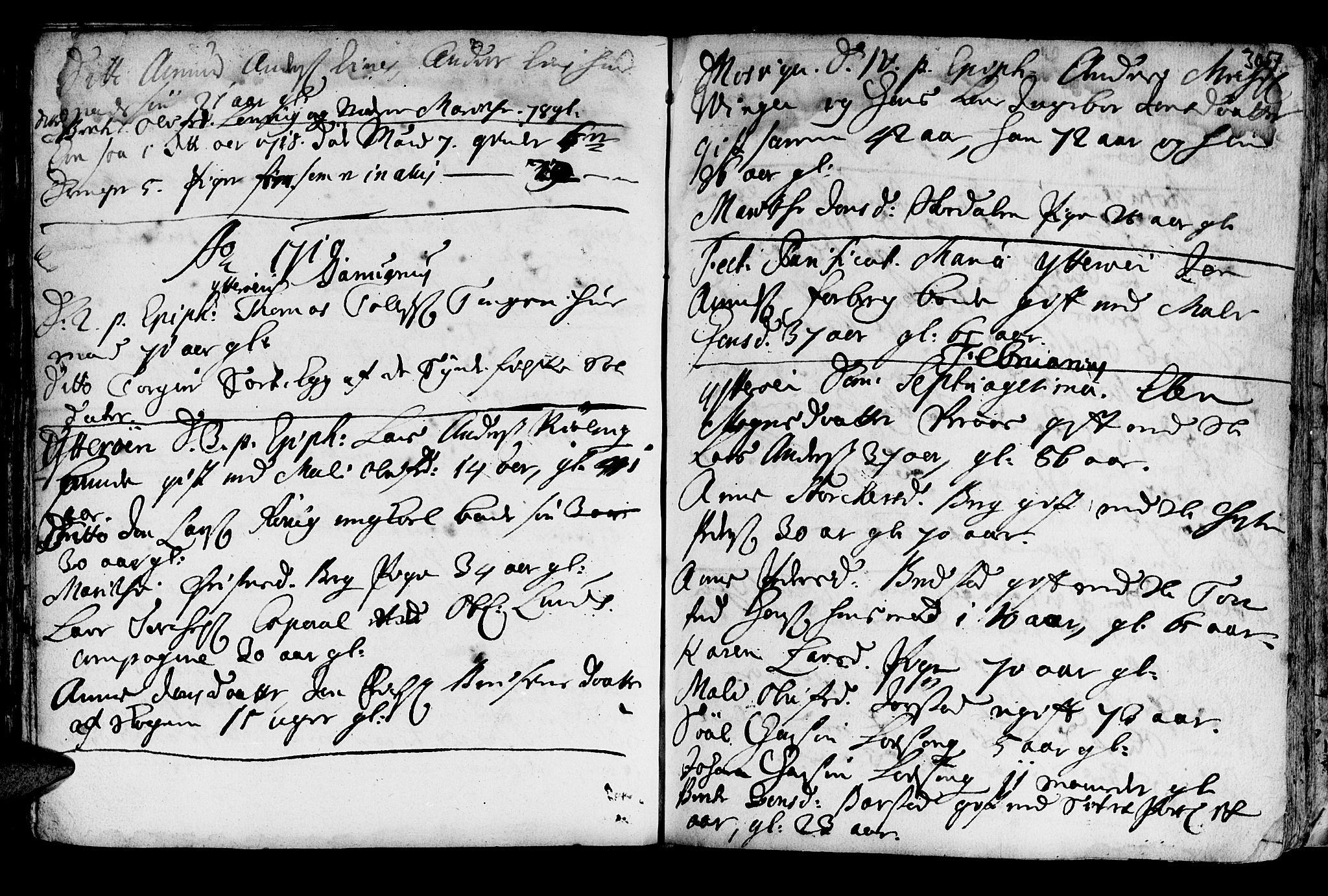 SAT, Ministerialprotokoller, klokkerbøker og fødselsregistre - Nord-Trøndelag, 722/L0215: Ministerialbok nr. 722A02, 1718-1755, s. 307