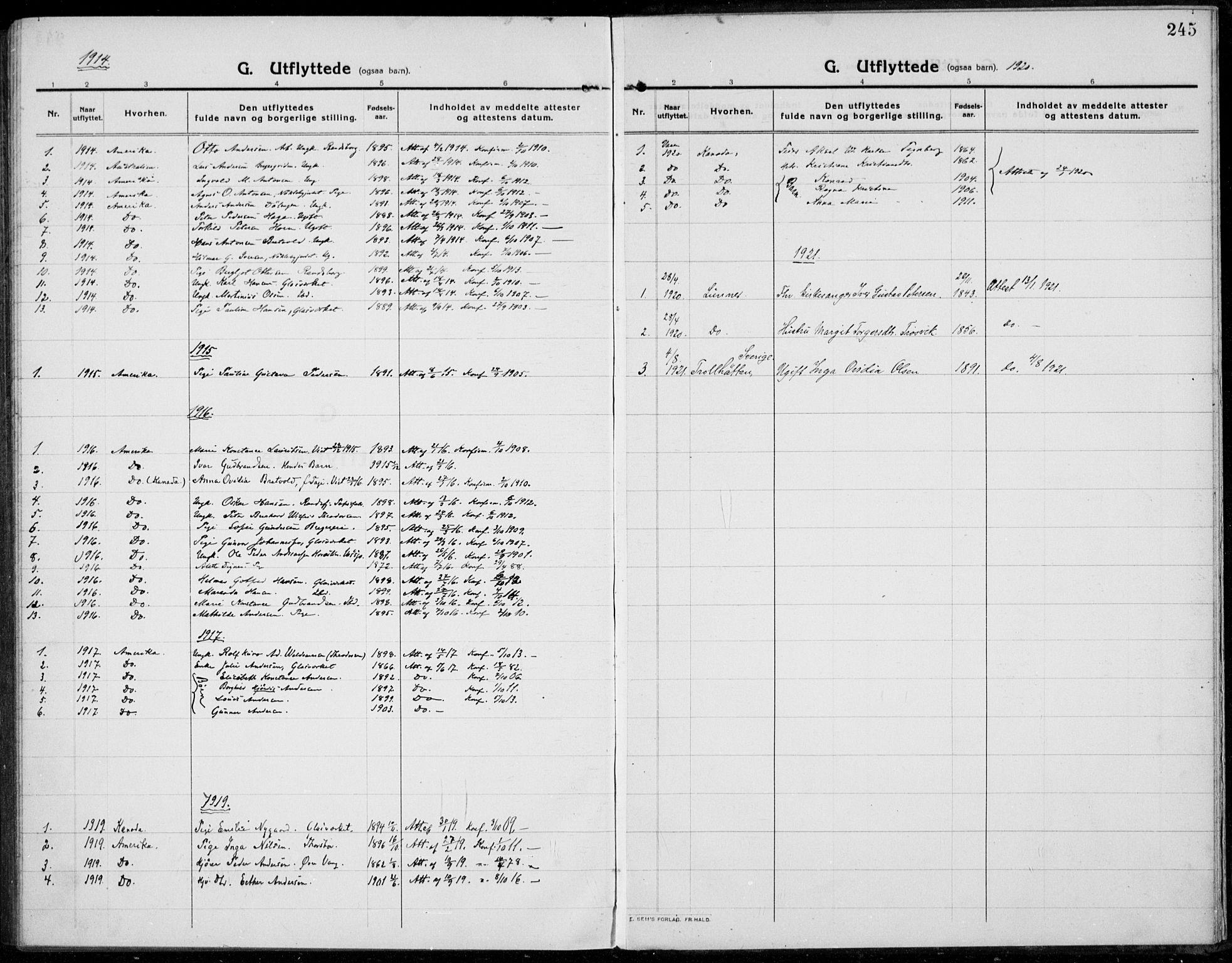 SAH, Jevnaker prestekontor, Ministerialbok nr. 12, 1914-1924, s. 245