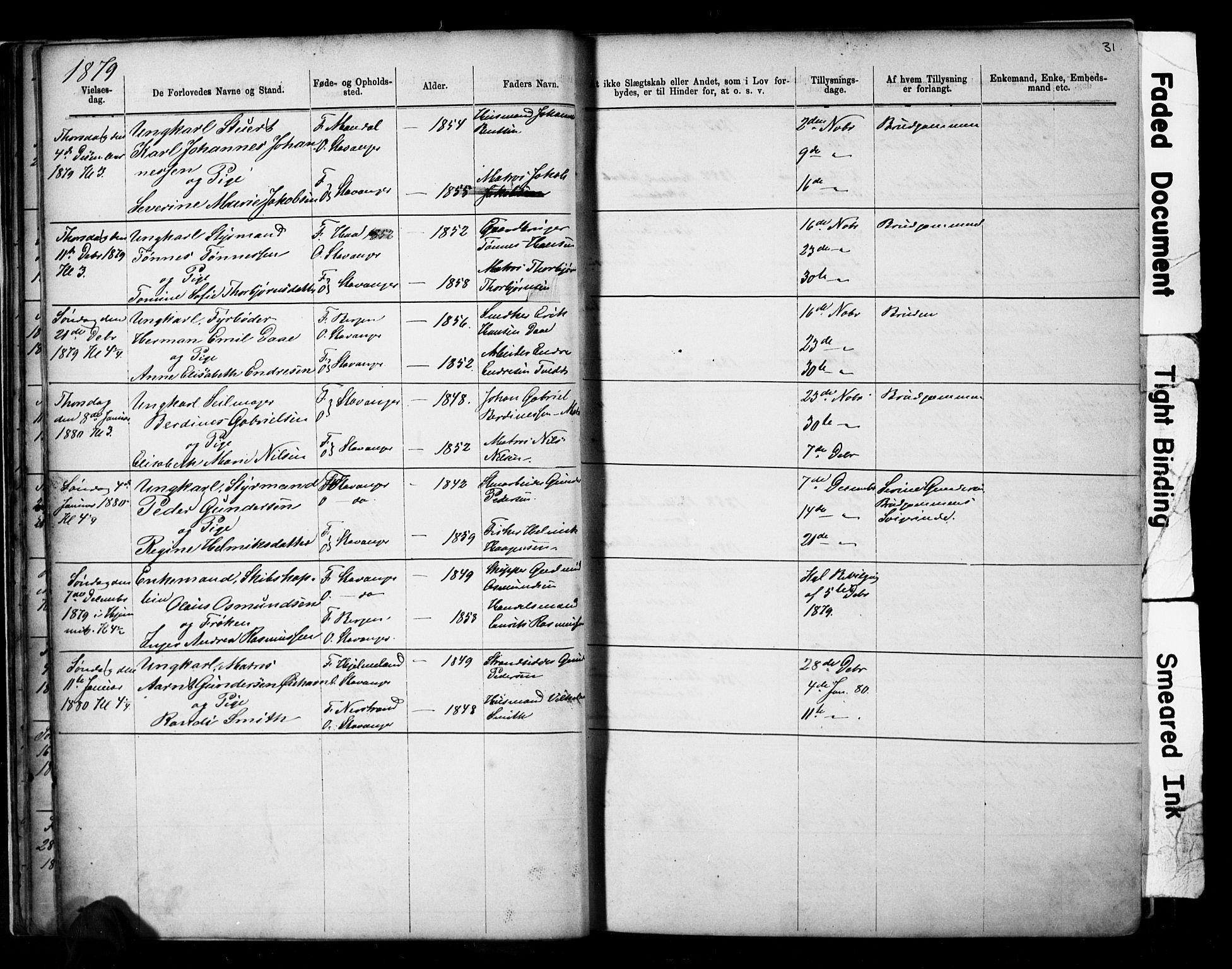 SAST, Domkirken sokneprestkontor, 30/30BB/L0014: Klokkerbok nr. B 14, 1875-1902, s. 31