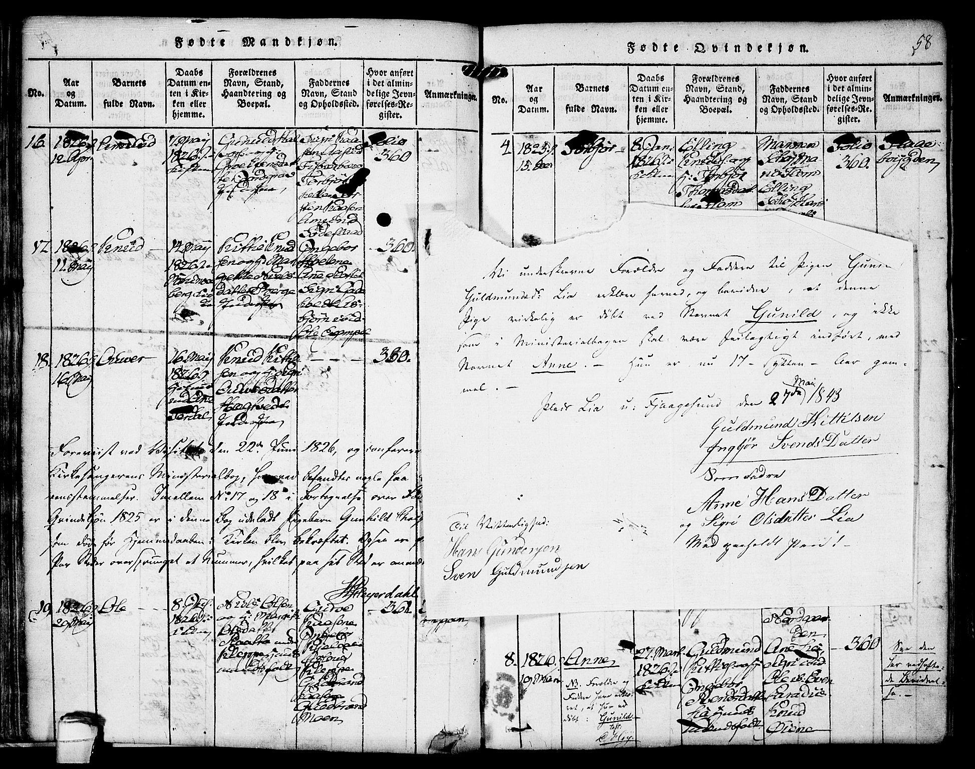 SAKO, Kviteseid kirkebøker, F/Fa/L0005: Ministerialbok nr. I 5, 1815-1836, s. 58