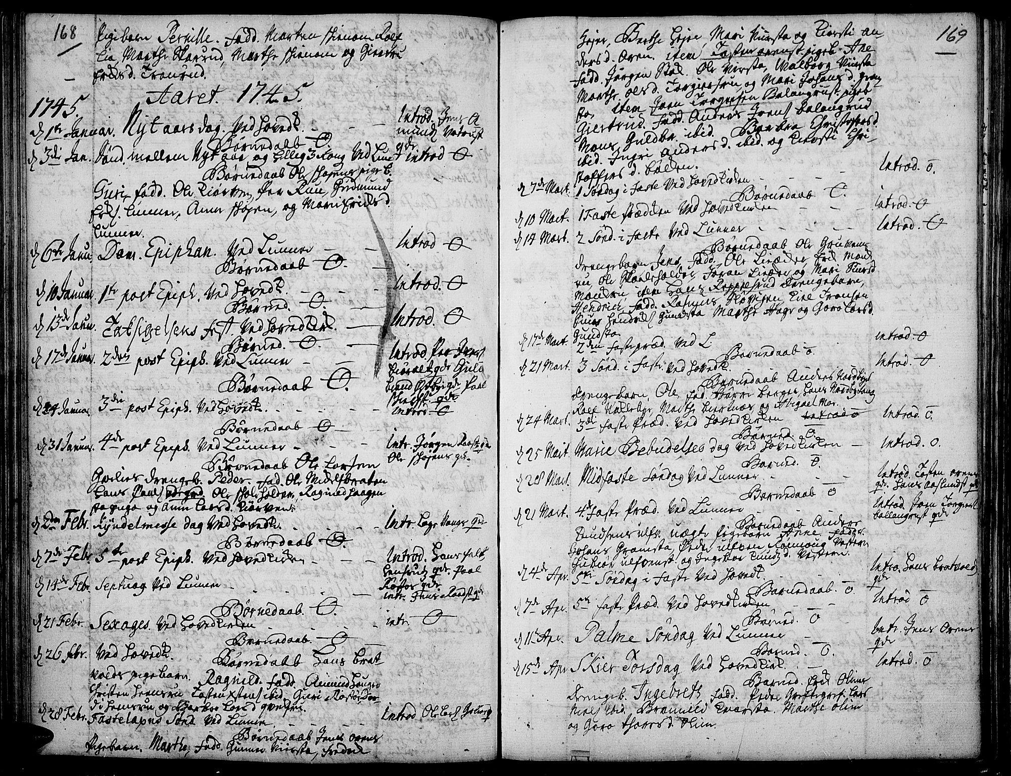 SAH, Jevnaker prestekontor, Ministerialbok nr. 2, 1725-1751, s. 168-169