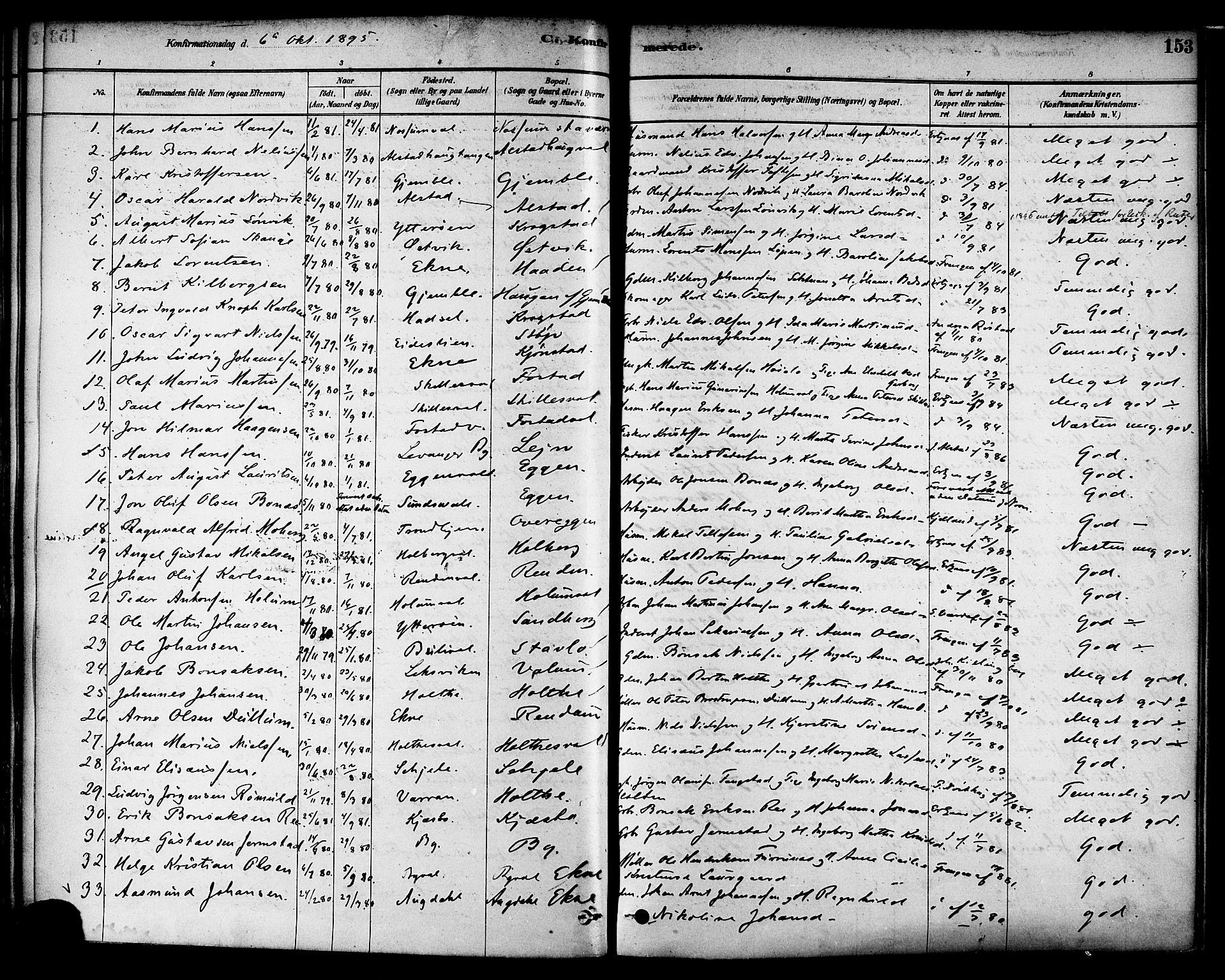 SAT, Ministerialprotokoller, klokkerbøker og fødselsregistre - Nord-Trøndelag, 717/L0159: Ministerialbok nr. 717A09, 1878-1898, s. 153