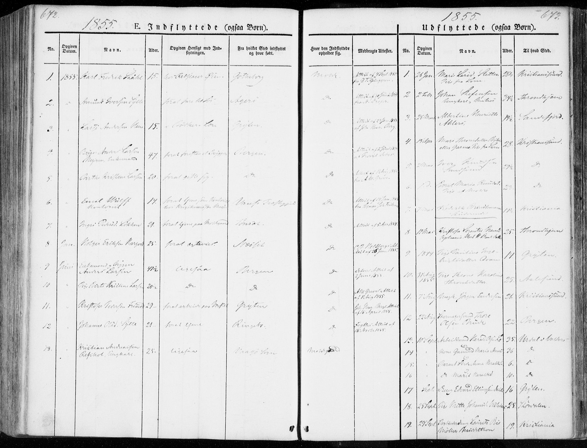 SAT, Ministerialprotokoller, klokkerbøker og fødselsregistre - Møre og Romsdal, 558/L0689: Ministerialbok nr. 558A03, 1843-1872, s. 672-673