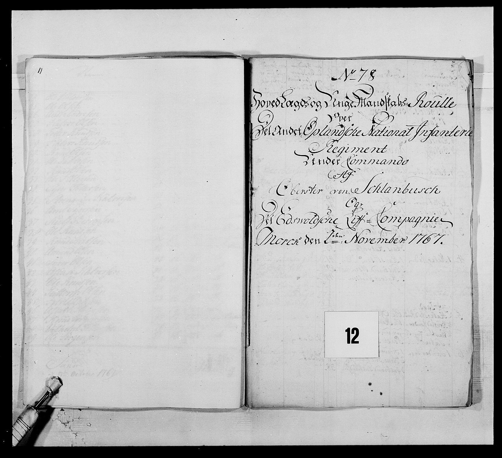 RA, Kommanderende general (KG I) med Det norske krigsdirektorium, E/Ea/L0507: 2. Opplandske regiment, 1766-1767, s. 257