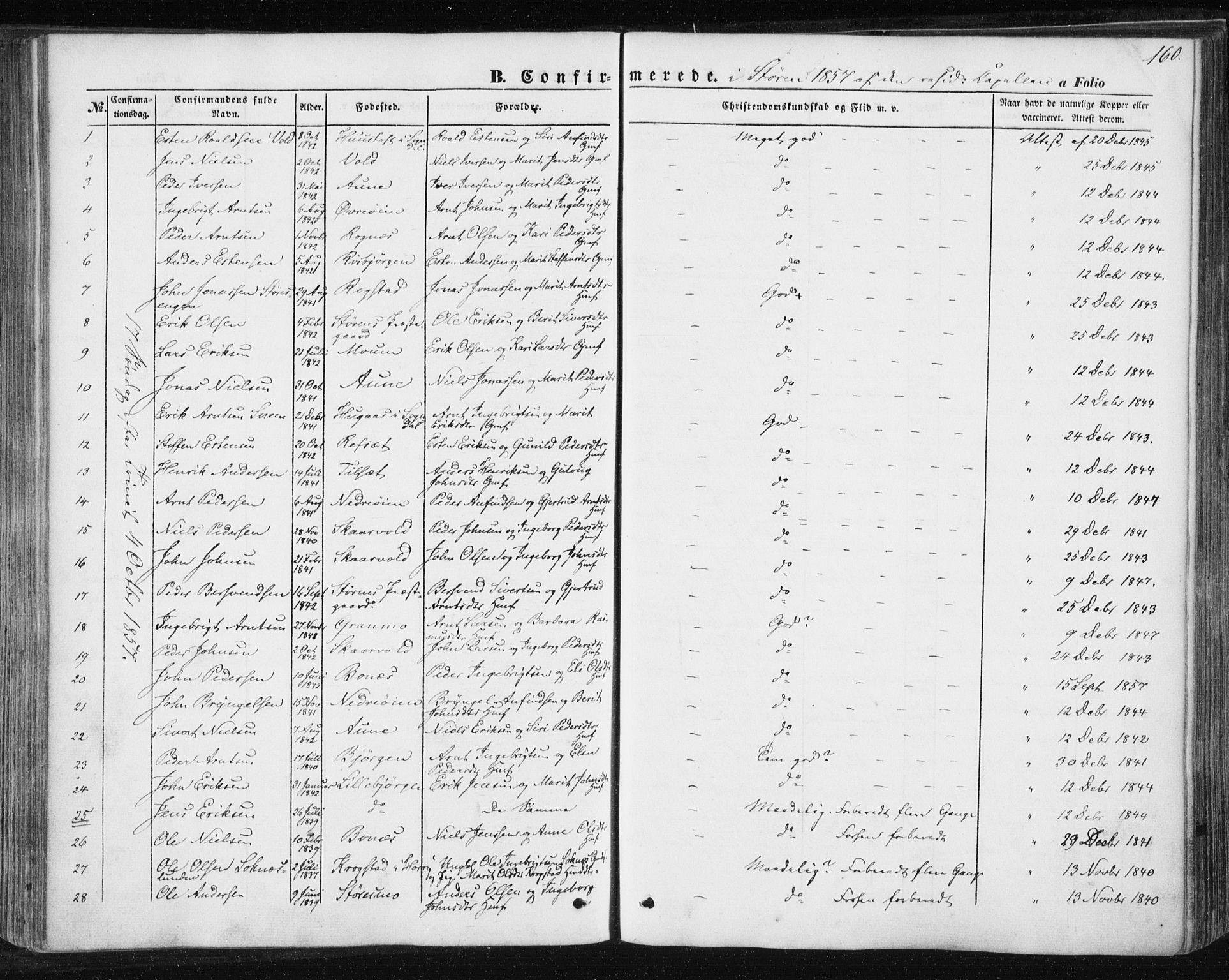 SAT, Ministerialprotokoller, klokkerbøker og fødselsregistre - Sør-Trøndelag, 687/L1000: Ministerialbok nr. 687A06, 1848-1869, s. 160