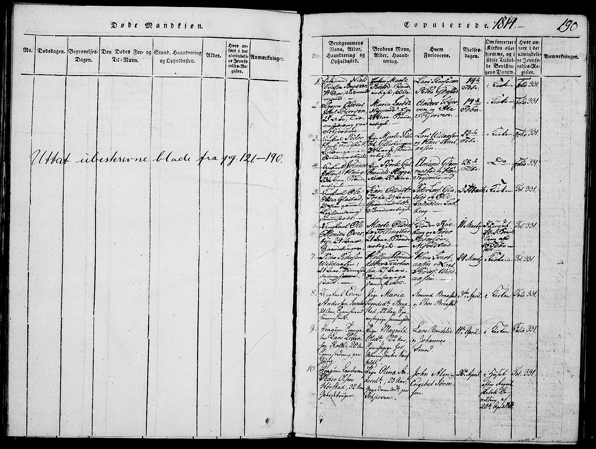 SAH, Vardal prestekontor, H/Ha/Haa/L0004: Ministerialbok nr. 4, 1814-1831, s. 190