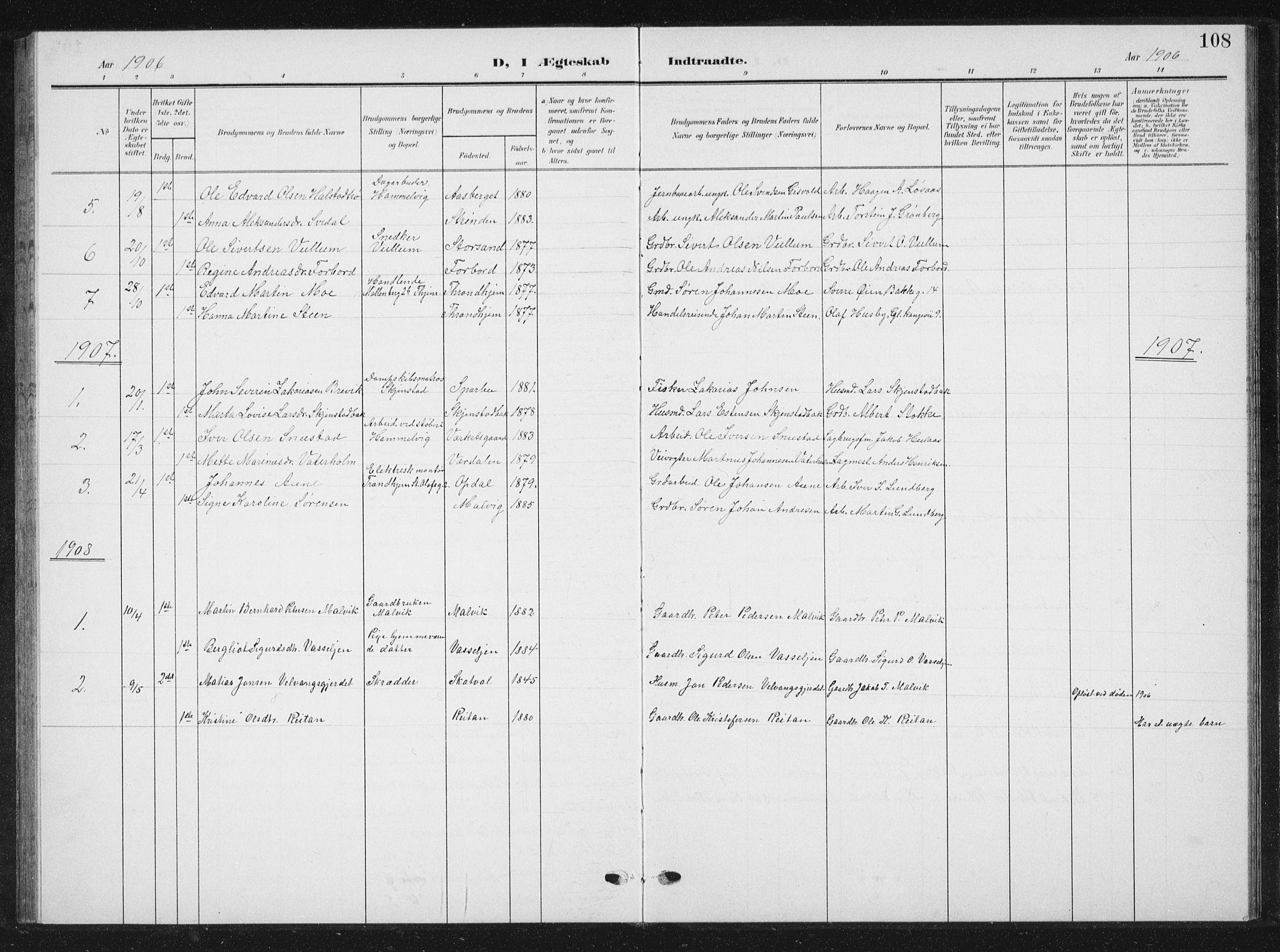 SAT, Ministerialprotokoller, klokkerbøker og fødselsregistre - Sør-Trøndelag, 616/L0424: Klokkerbok nr. 616C07, 1904-1940, s. 108