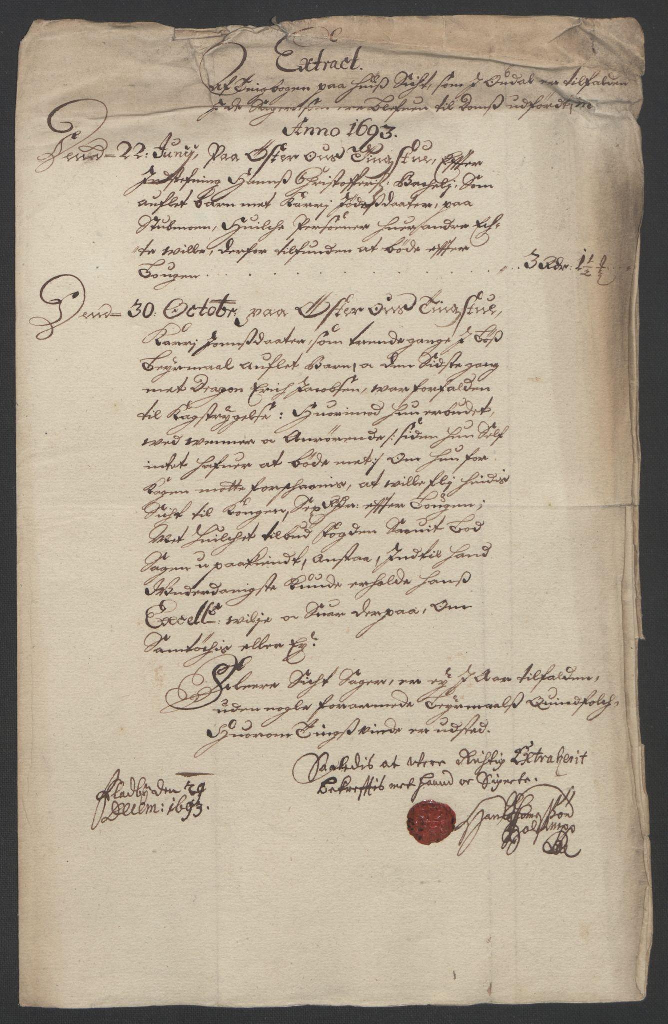 RA, Rentekammeret inntil 1814, Reviderte regnskaper, Fogderegnskap, R13/L0831: Fogderegnskap Solør, Odal og Østerdal, 1693, s. 170