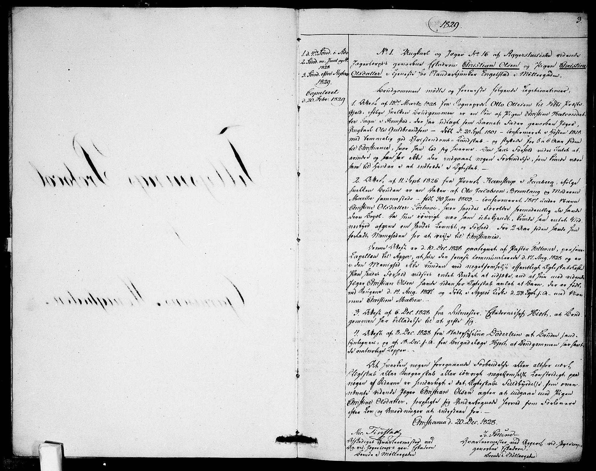 SAO, Garnisonsmenigheten Kirkebøker, H/Ha/L0002: Lysningsprotokoll nr. I 2, 1829-1835, s. 3