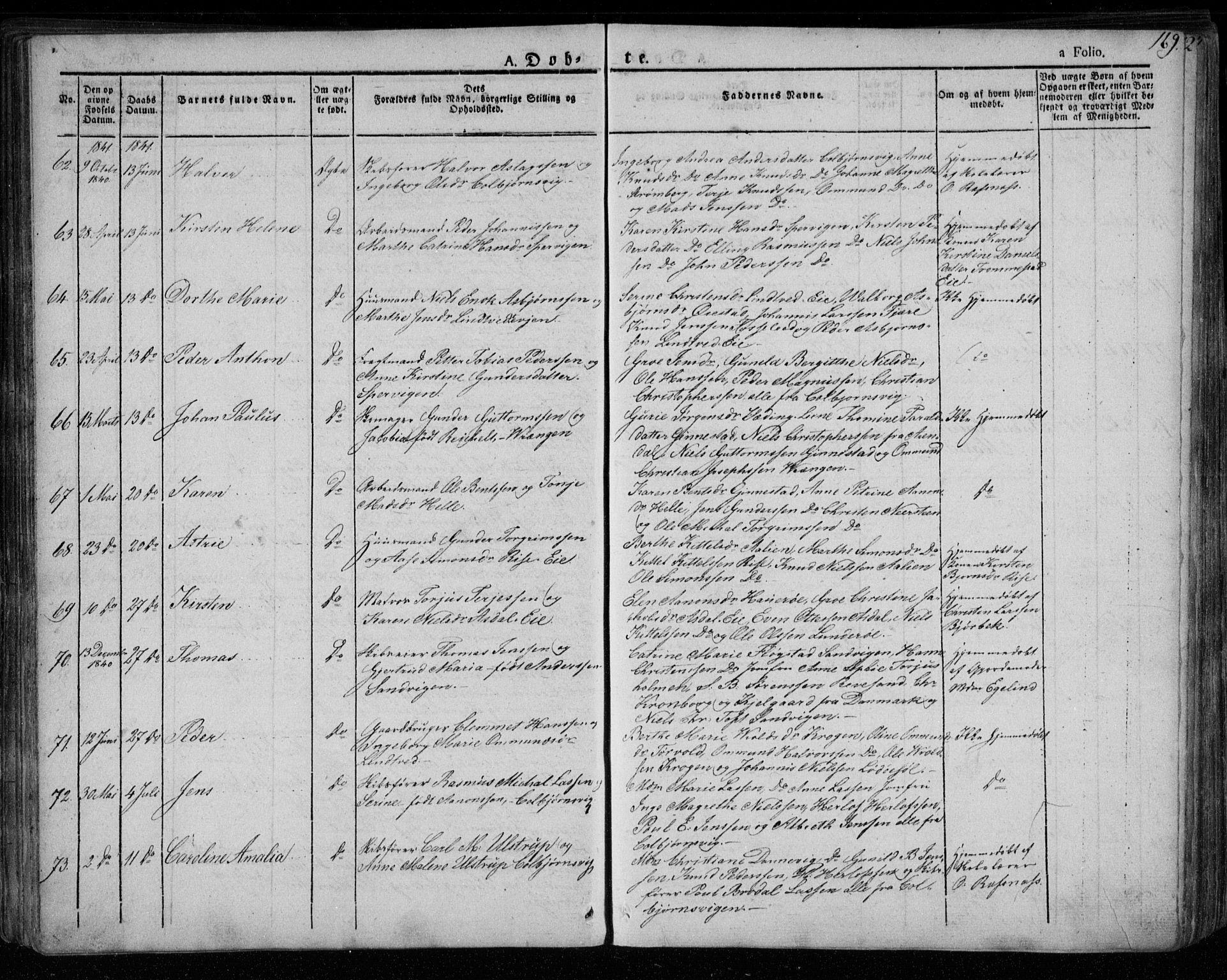 SAK, Øyestad sokneprestkontor, F/Fa/L0013: Ministerialbok nr. A 13, 1827-1842, s. 169
