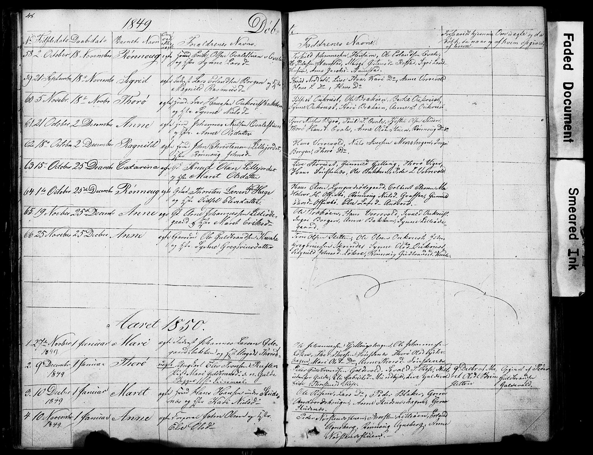 SAH, Lom prestekontor, L/L0012: Klokkerbok nr. 12, 1845-1873, s. 48-49