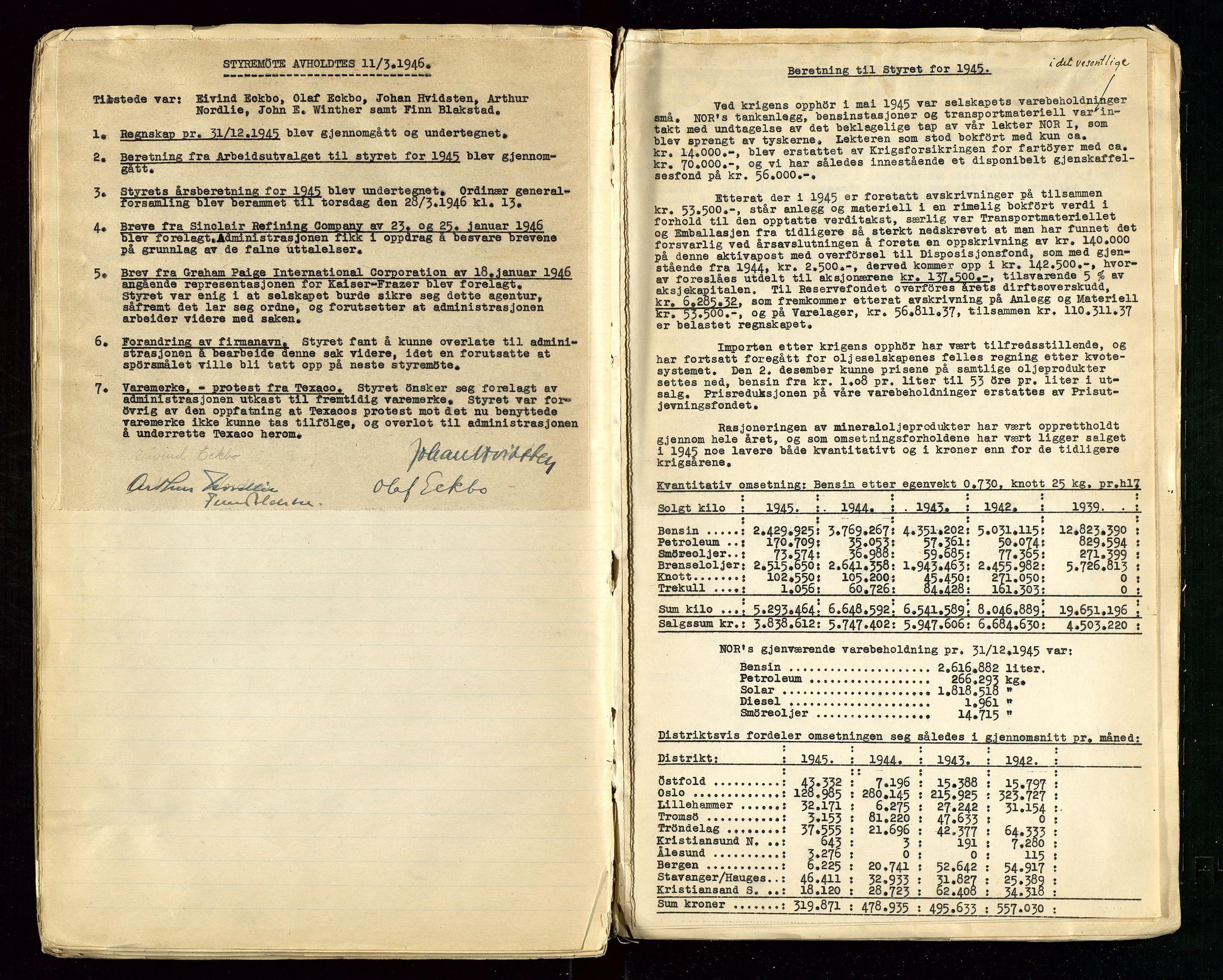 SAST, PA 1514 - Sporveienes Bensindepot, Norsk Oljeraffineri A/S, A/L0001: Styreprotokoll. Forhandlingsprotokoll Arbeidsutvaget, 1932-1949, s. 95
