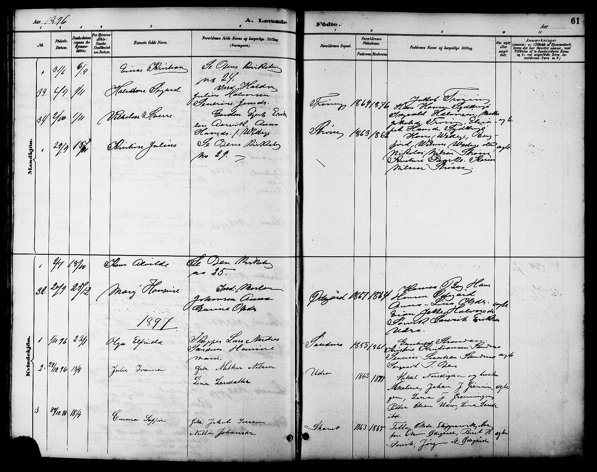 SAT, Ministerialprotokoller, klokkerbøker og fødselsregistre - Sør-Trøndelag, 657/L0716: Klokkerbok nr. 657C03, 1889-1904, s. 61
