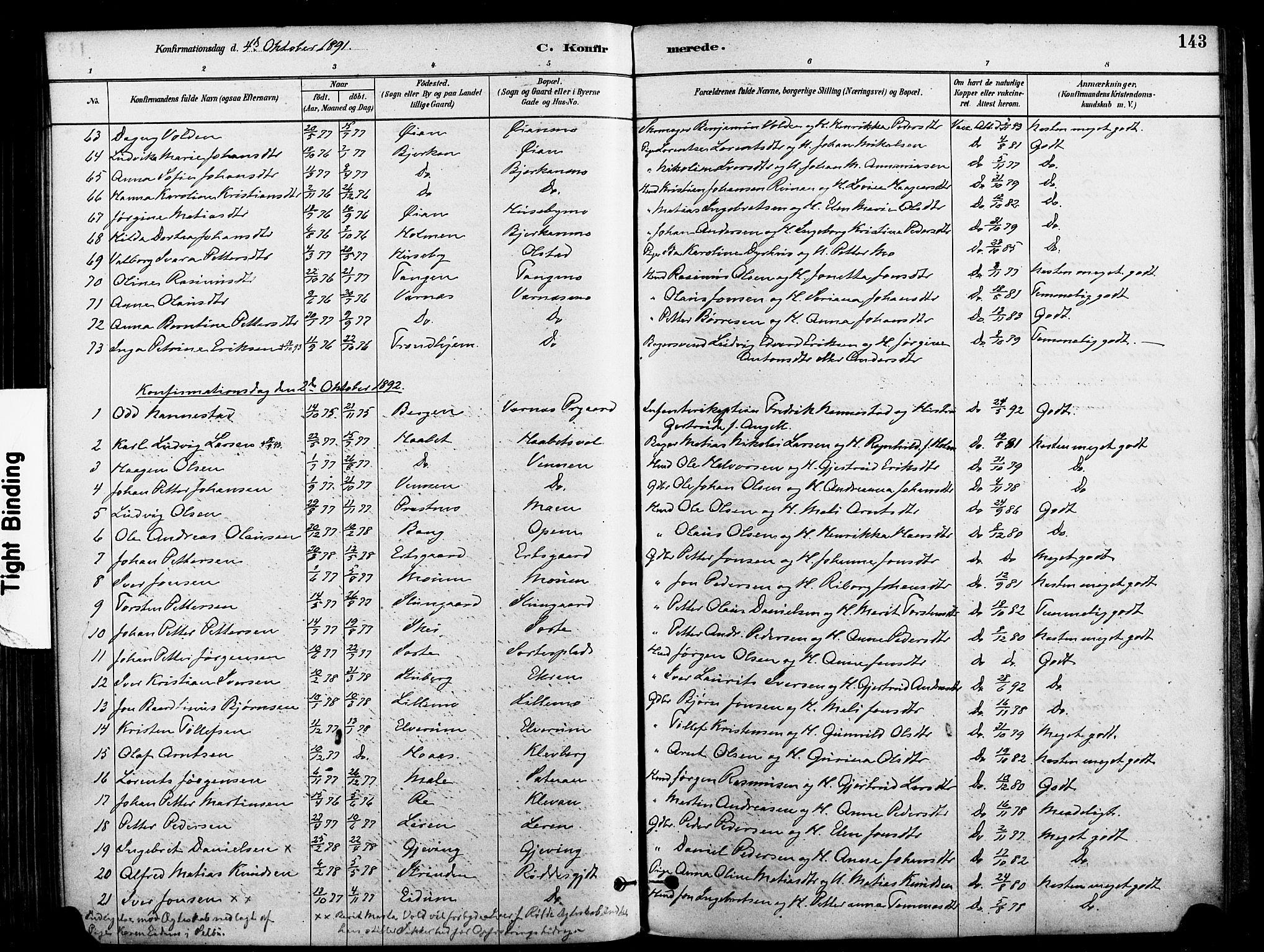 SAT, Ministerialprotokoller, klokkerbøker og fødselsregistre - Nord-Trøndelag, 709/L0077: Ministerialbok nr. 709A17, 1880-1895, s. 143