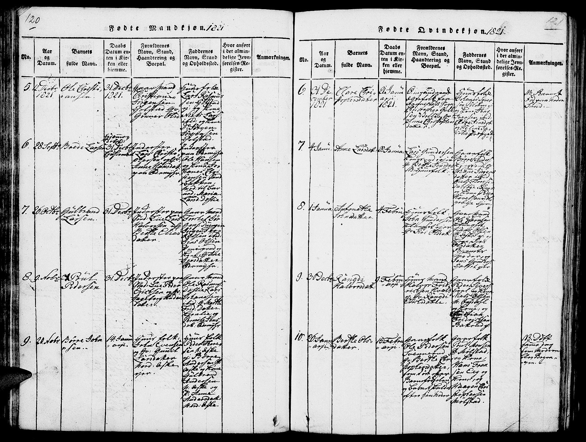 SAH, Nes prestekontor, L/La/L0003: Klokkerbok nr. 3, 1814-1831, s. 120-121