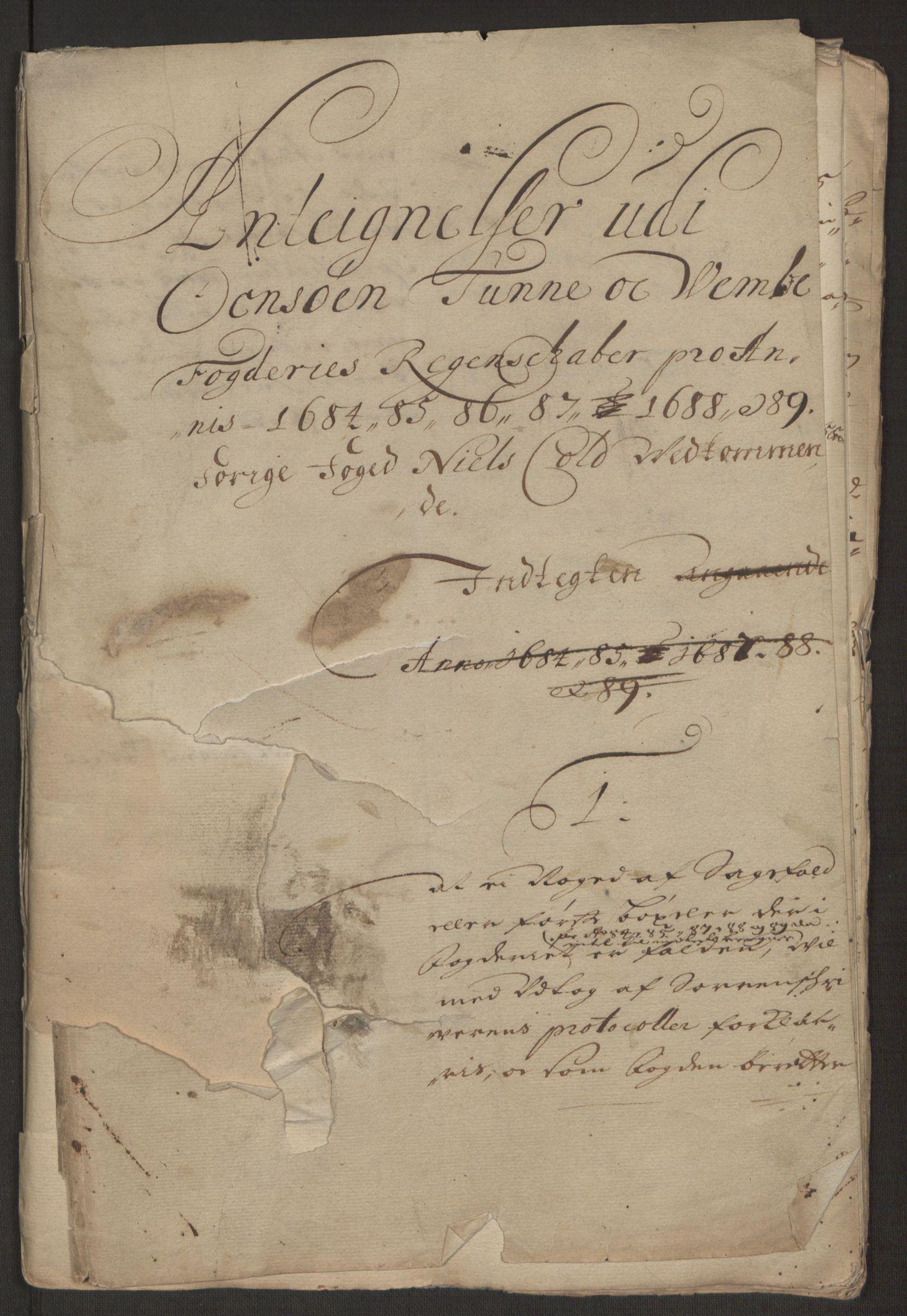 RA, Rentekammeret inntil 1814, Reviderte regnskaper, Fogderegnskap, R03/L0118: Fogderegnskap Onsøy, Tune, Veme og Åbygge fogderi, 1684-1689, s. 110
