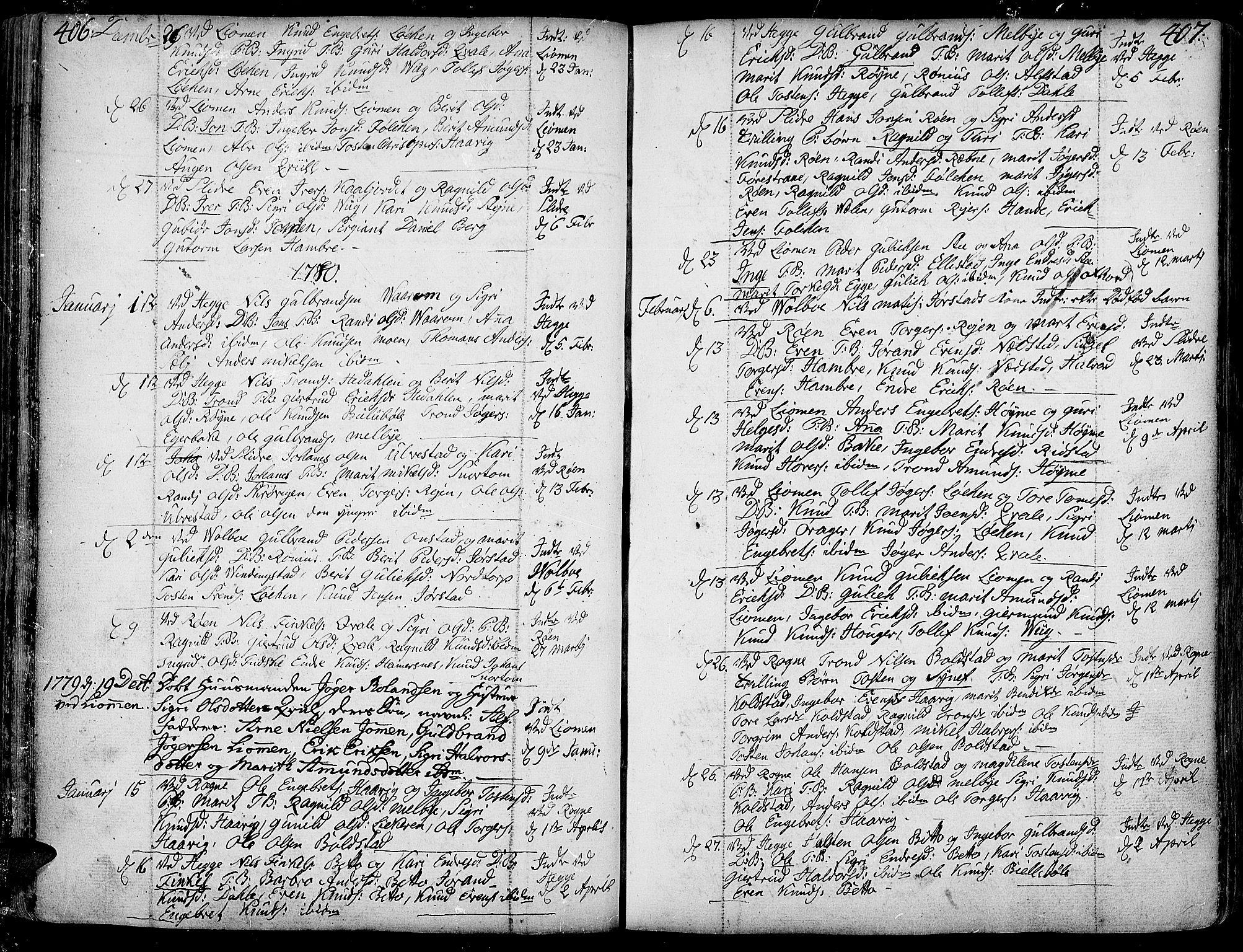 SAH, Slidre prestekontor, Ministerialbok nr. 1, 1724-1814, s. 406-407