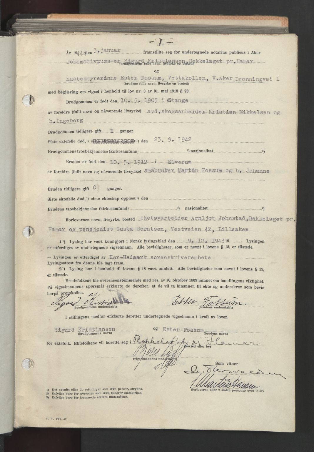 SAO, Aker sorenskriveri, L/Lc/Lcb/L0021: Vigselprotokoll, 1944, s. 1