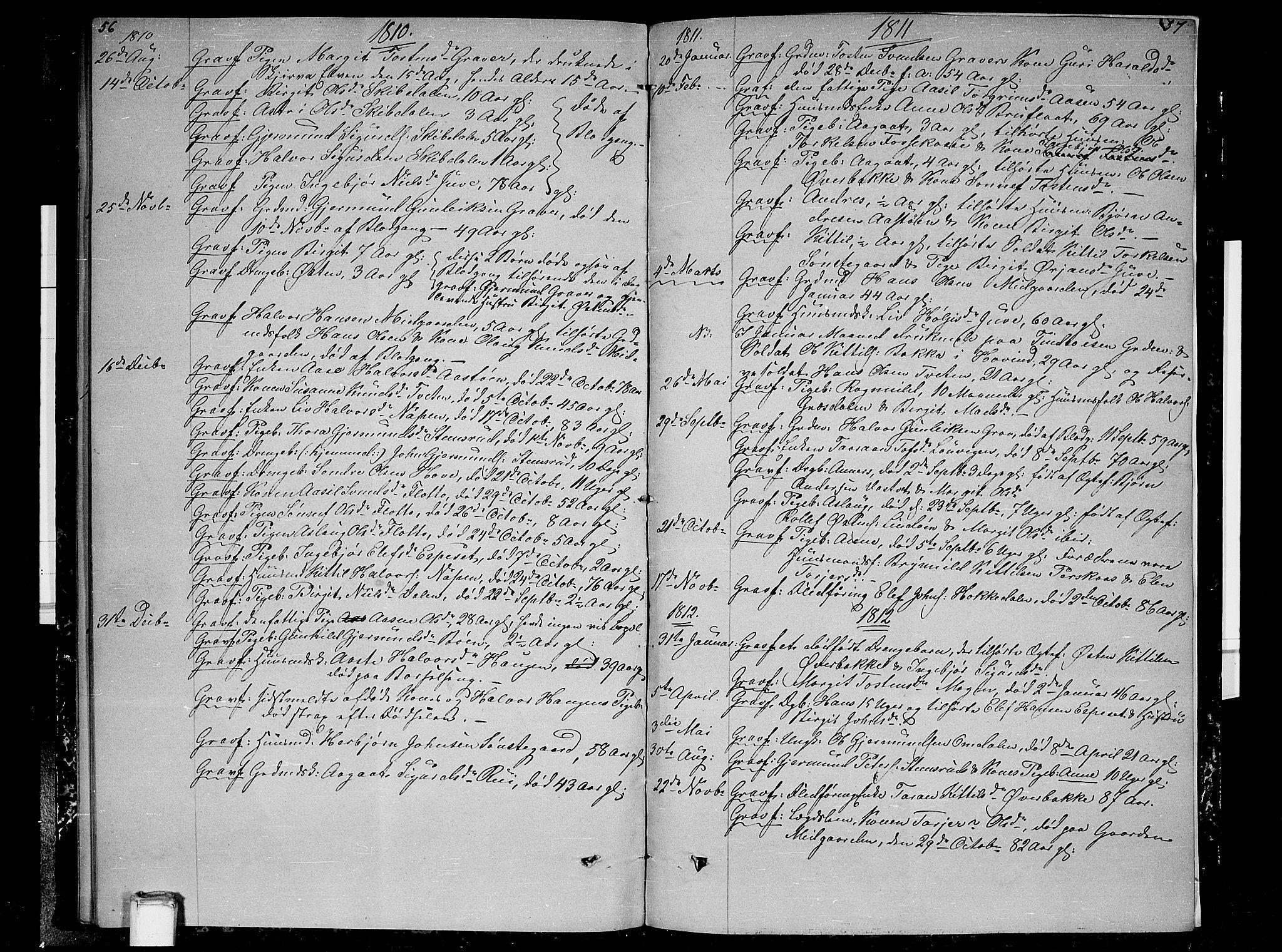 SAKO, Gransherad kirkebøker, F/Fb/L0001: Ministerialbok nr. II 1, 1800-1814, s. 56-57