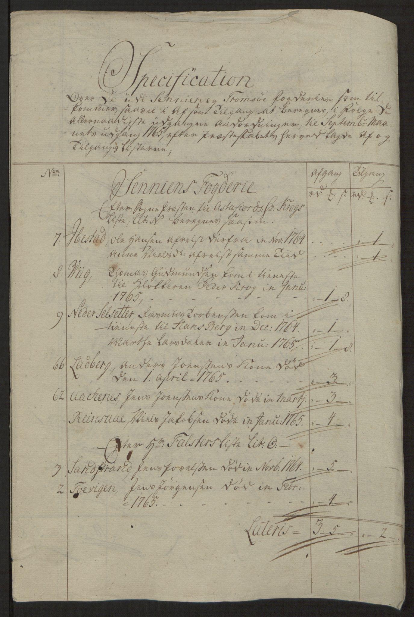 RA, Rentekammeret inntil 1814, Reviderte regnskaper, Fogderegnskap, R68/L4845: Ekstraskatten Senja og Troms, 1762-1765, s. 551