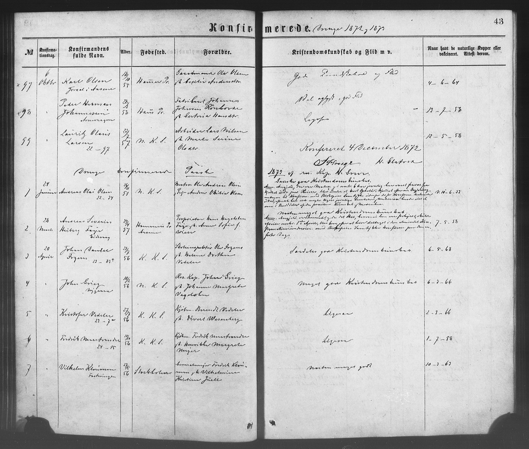 SAB, Korskirken Sokneprestembete, H/Haa/L0028: Ministerialbok nr. C 4, 1868-1879, s. 43