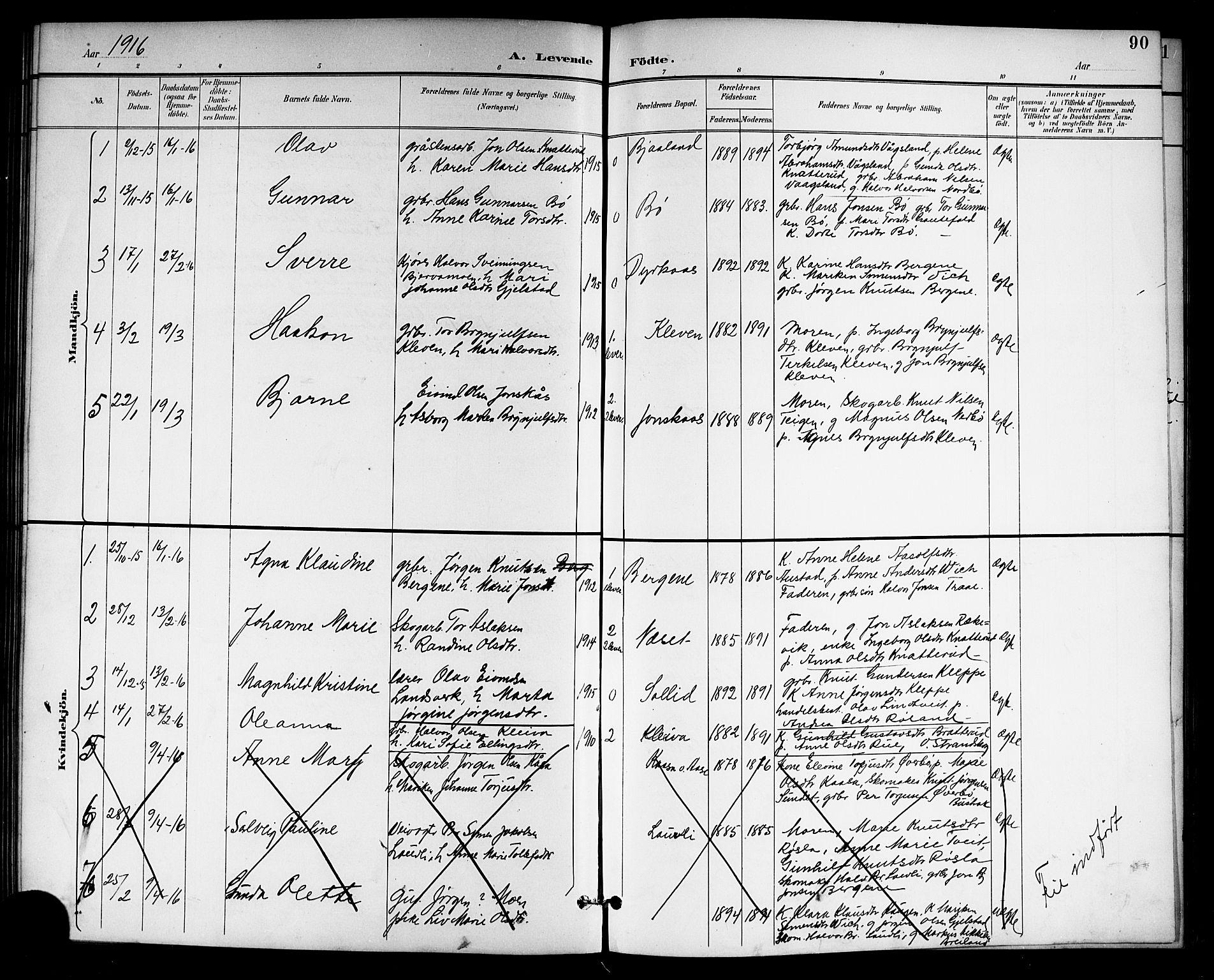 SAKO, Drangedal kirkebøker, G/Gb/L0002: Klokkerbok nr. II 2, 1895-1918, s. 90