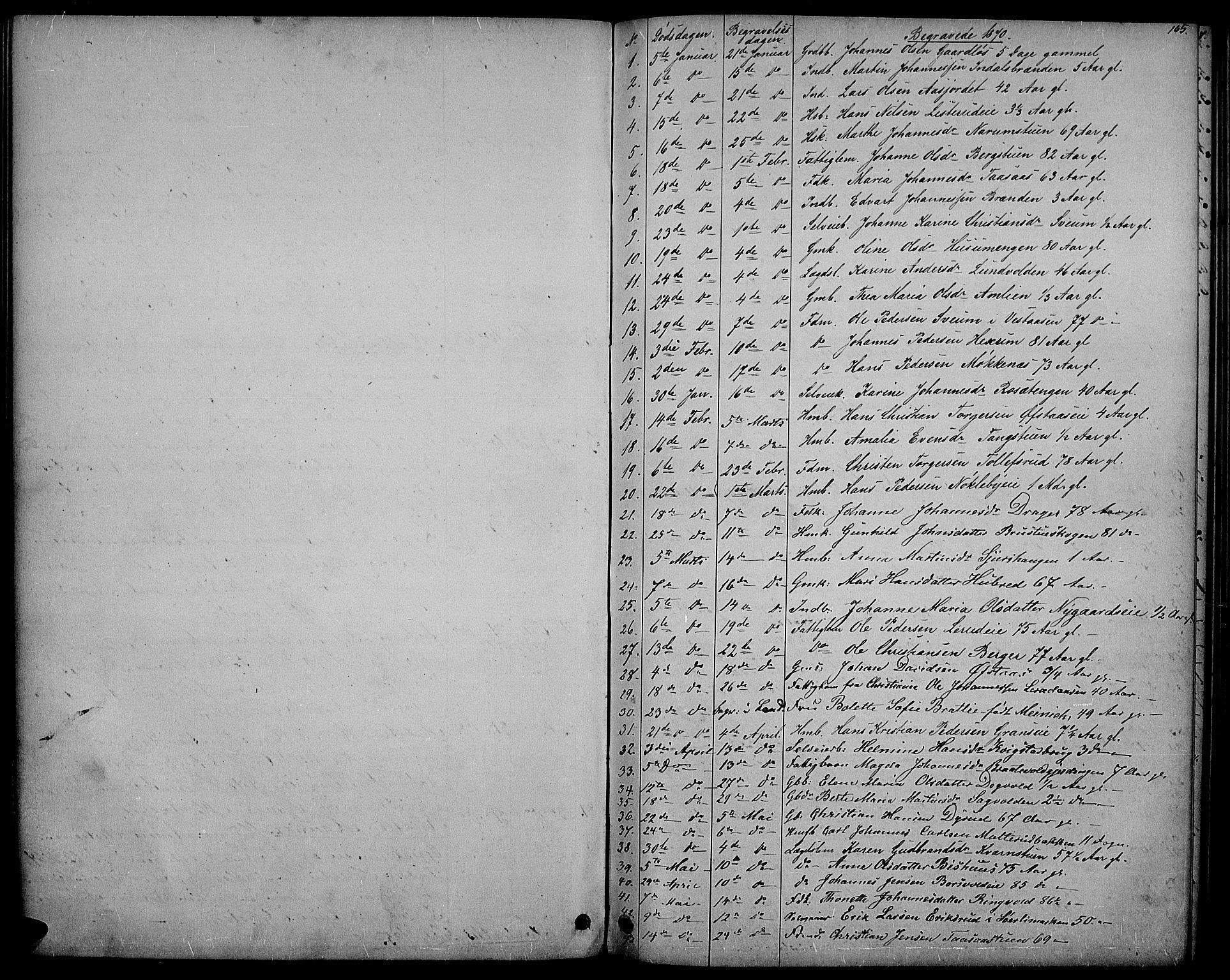 SAH, Vestre Toten prestekontor, H/Ha/Hab/L0006: Klokkerbok nr. 6, 1870-1887, s. 165