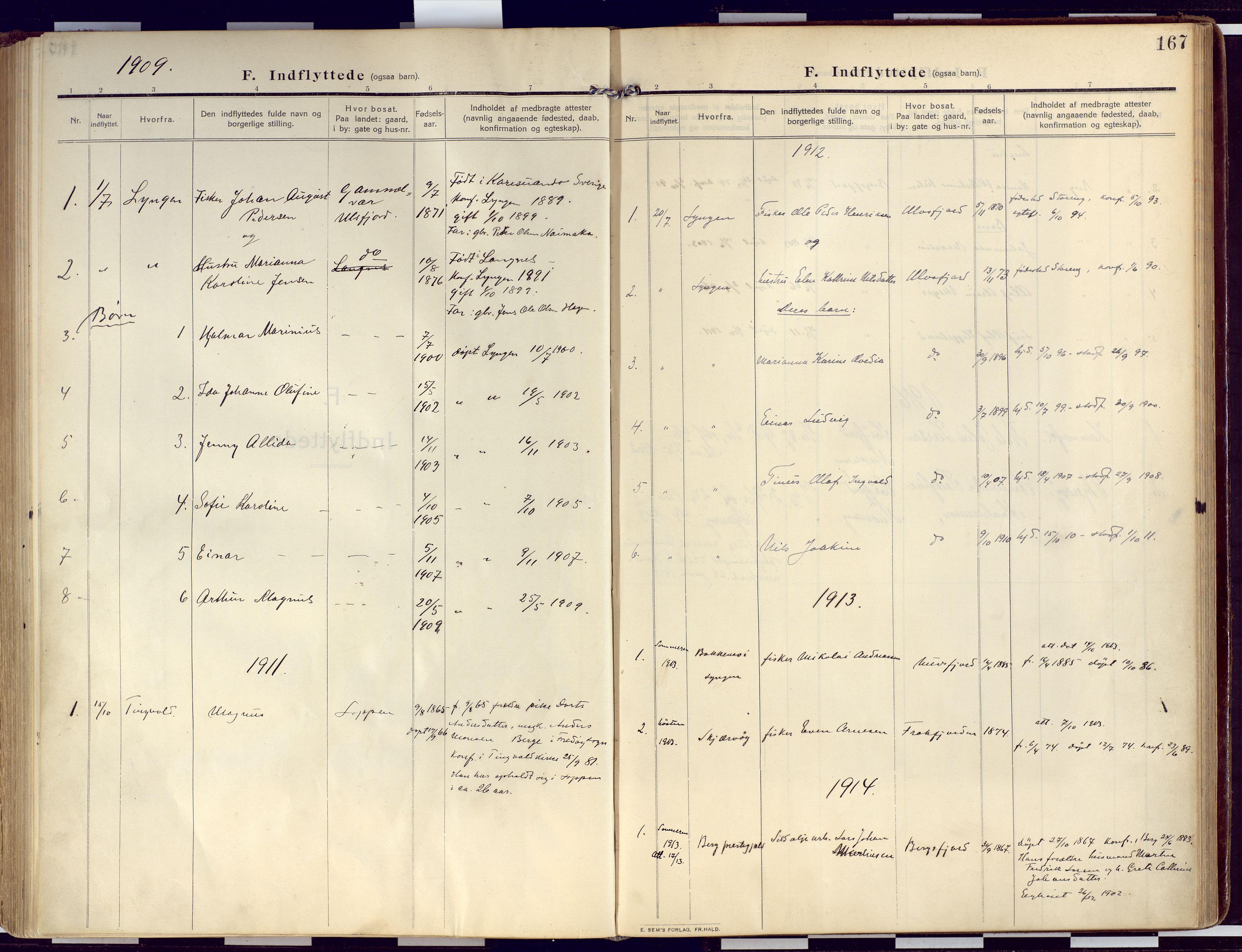 SATØ, Loppa sokneprestkontor, H/Ha/L0011kirke: Ministerialbok nr. 11, 1909-1919, s. 167