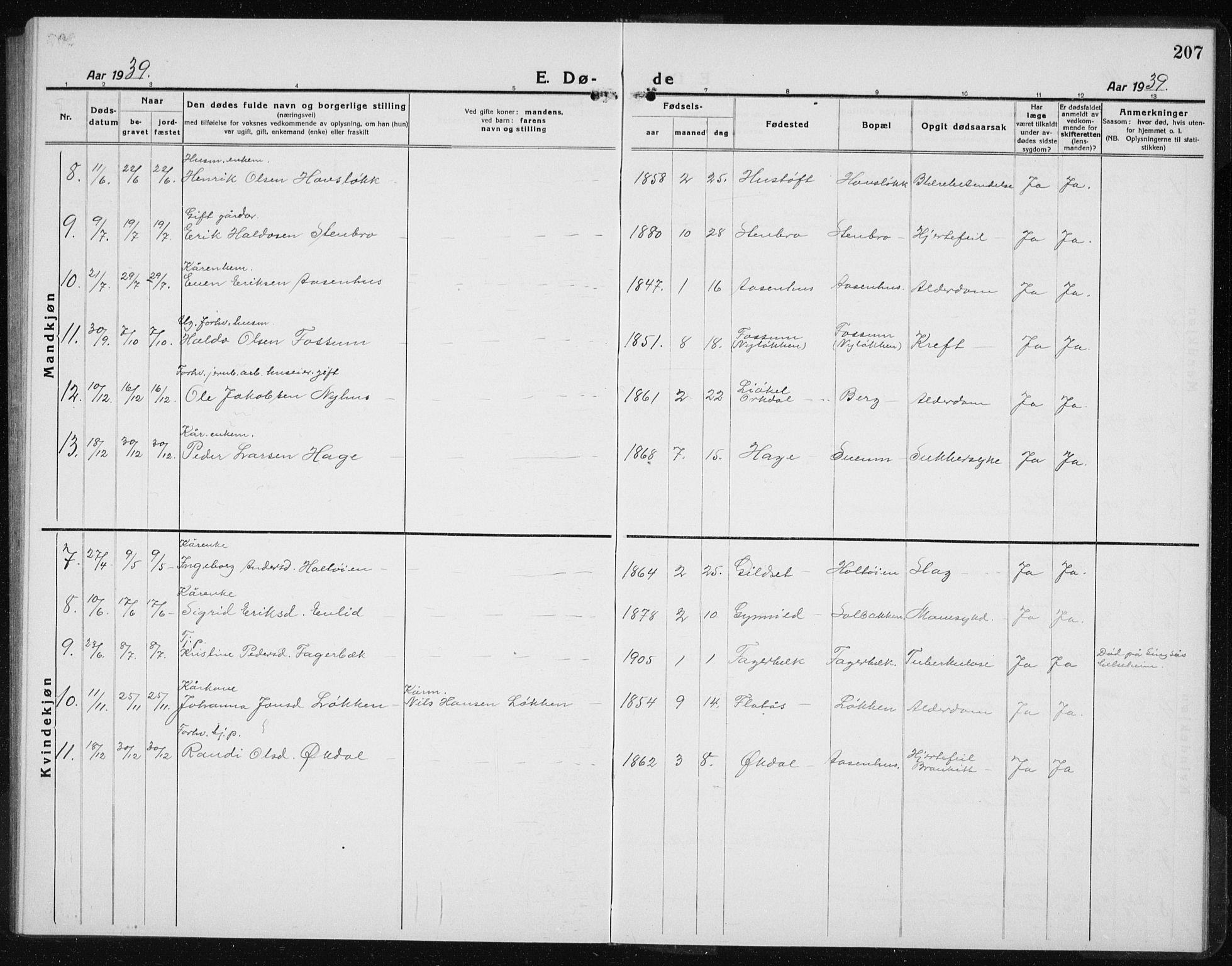 SAT, Ministerialprotokoller, klokkerbøker og fødselsregistre - Sør-Trøndelag, 689/L1045: Klokkerbok nr. 689C04, 1923-1940, s. 207