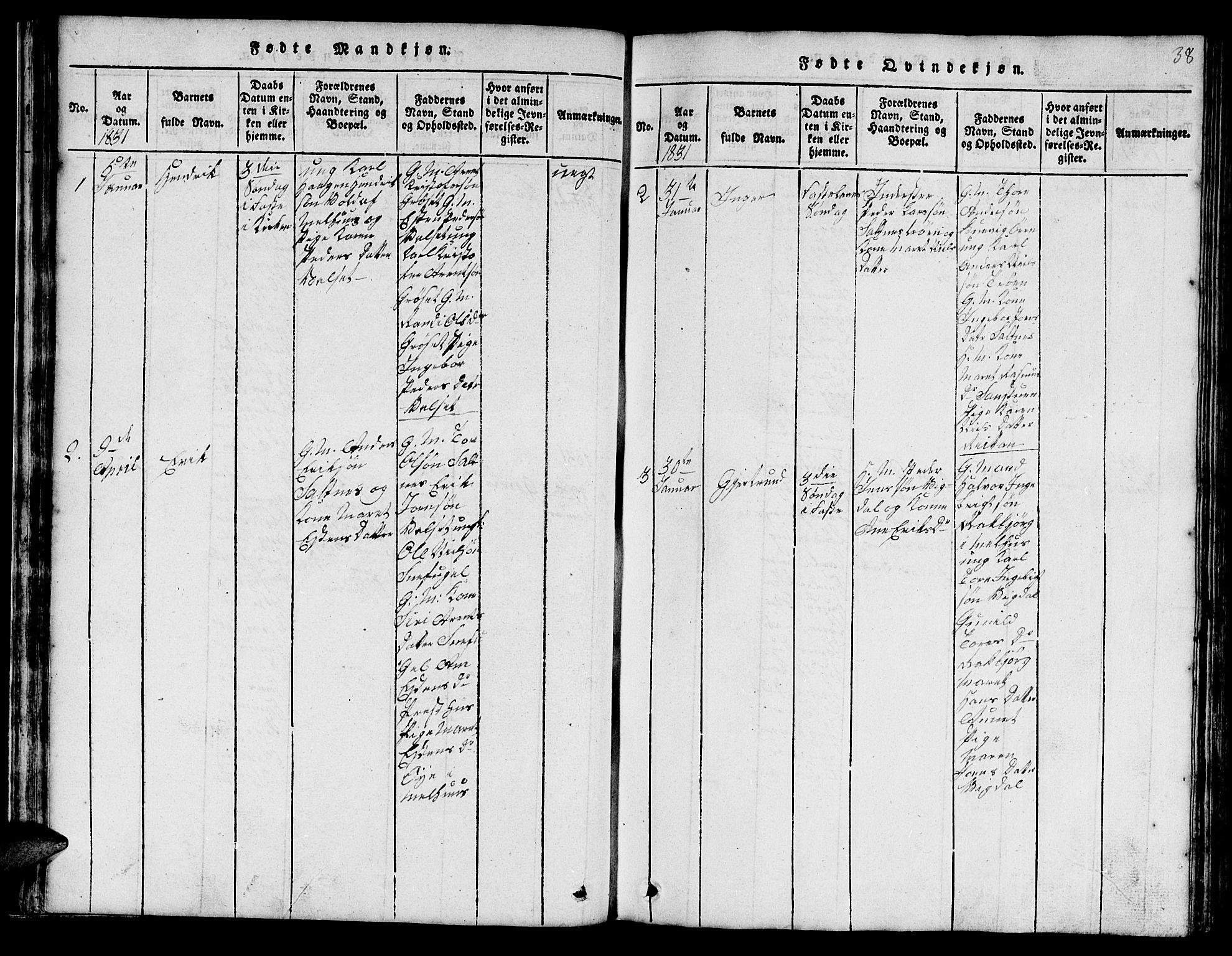SAT, Ministerialprotokoller, klokkerbøker og fødselsregistre - Sør-Trøndelag, 666/L0788: Klokkerbok nr. 666C01, 1816-1847, s. 38